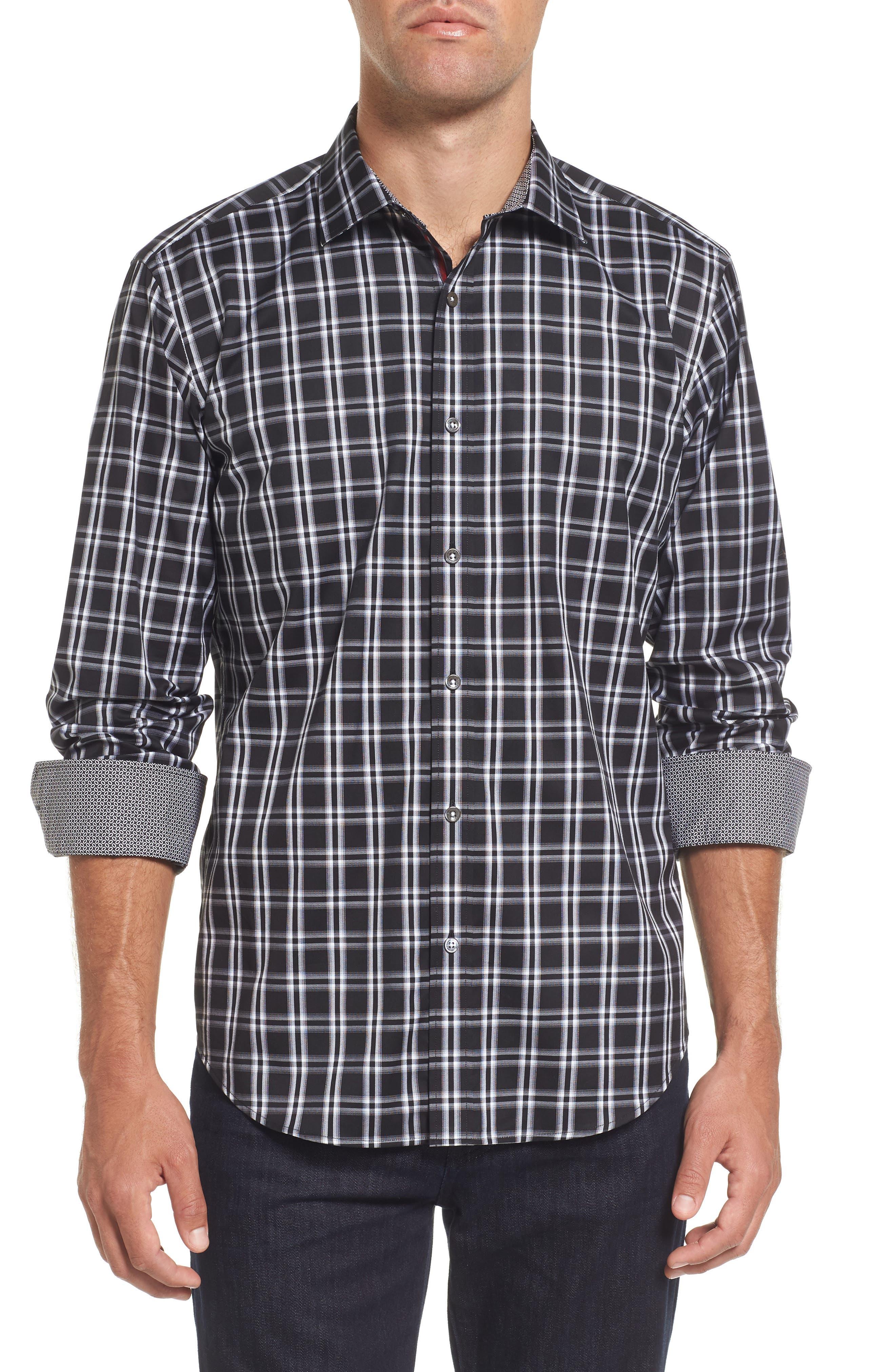 Slim Fit Check Sport Shirt,                         Main,                         color, Black