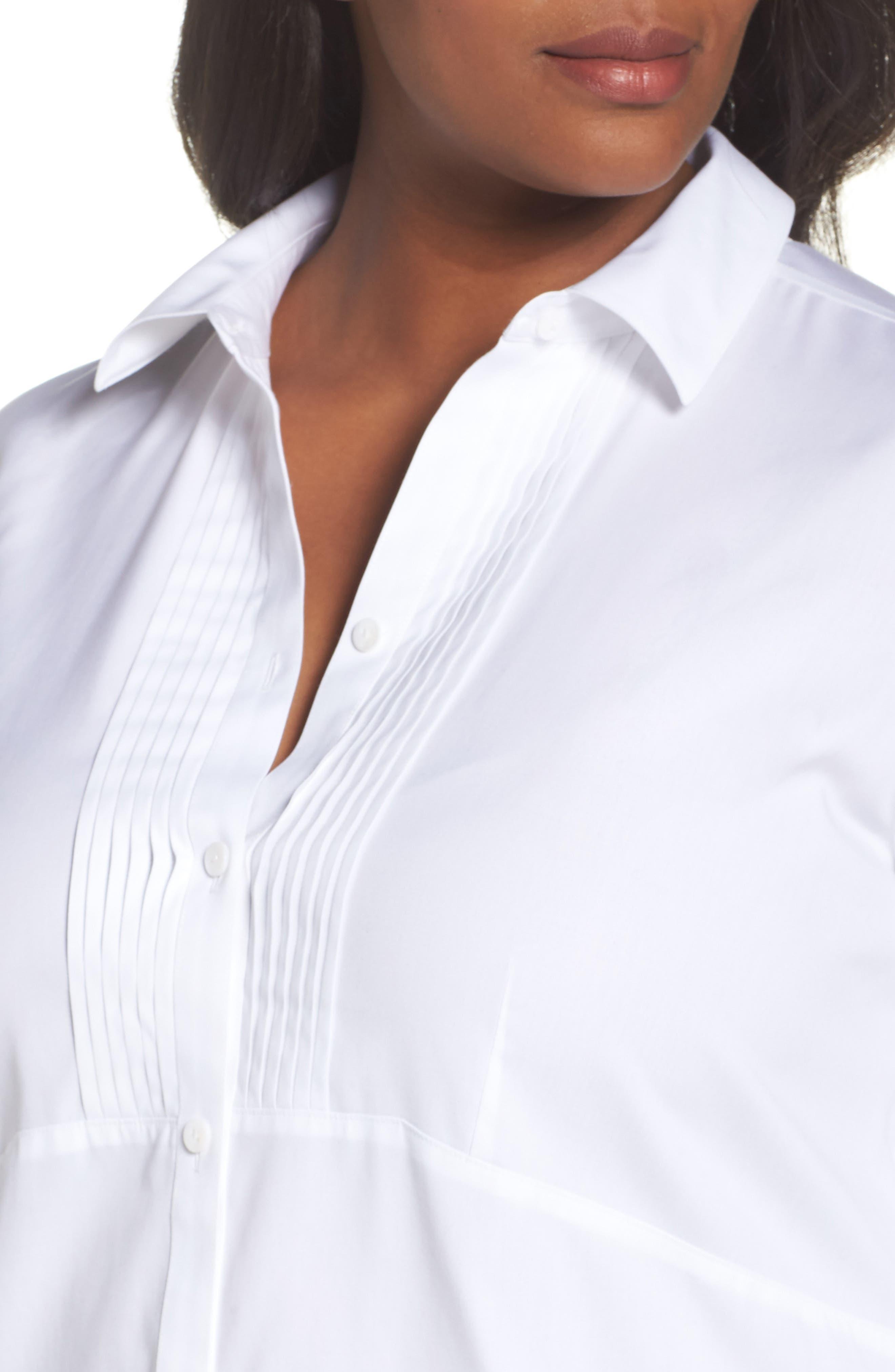 Alternate Image 4  - Foxcroft Sheri Stretch Cotton Shirt (Plus Size)