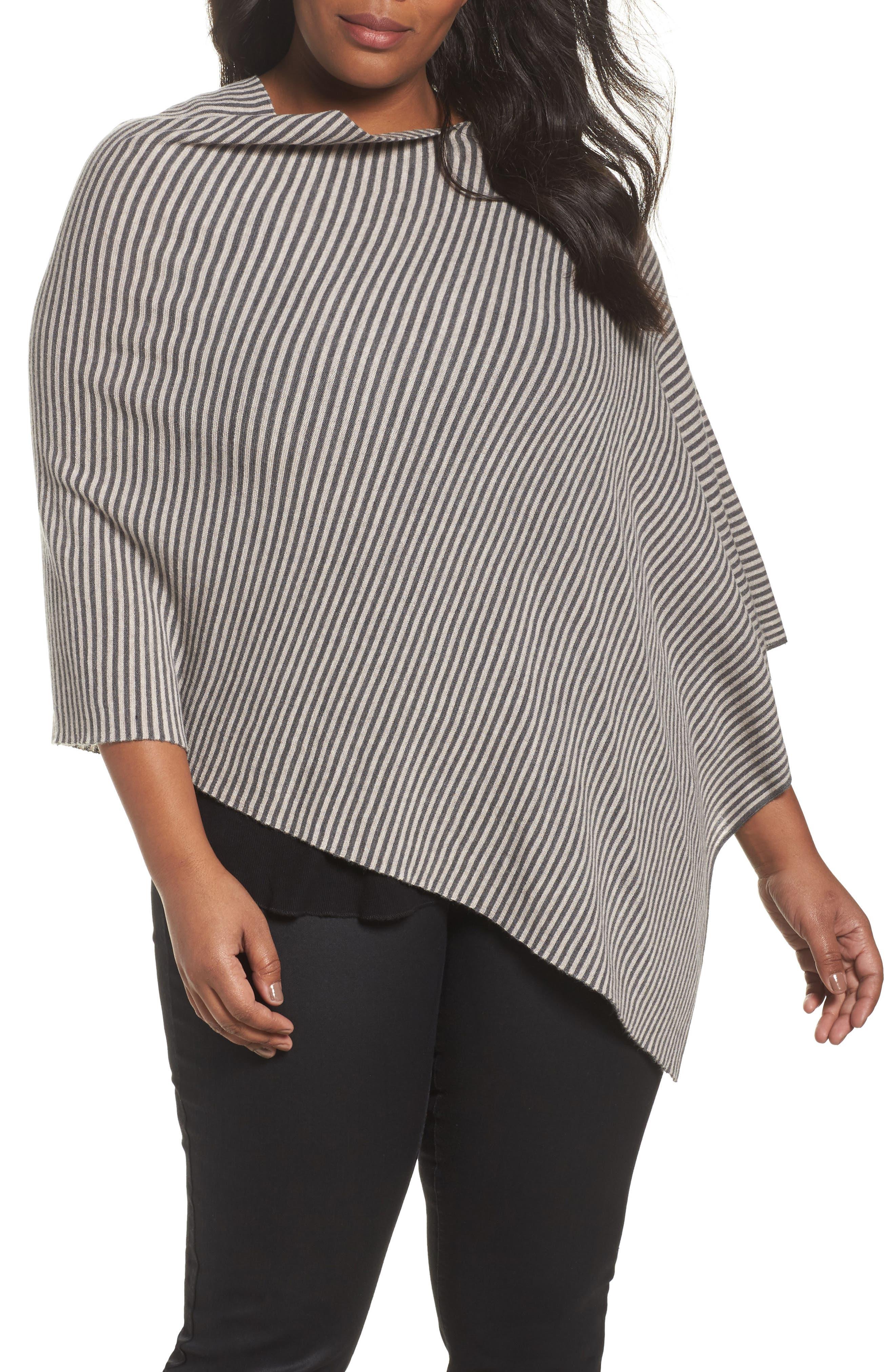 Eileen Fisher Stripe Merino Knit Poncho (Plus Size)