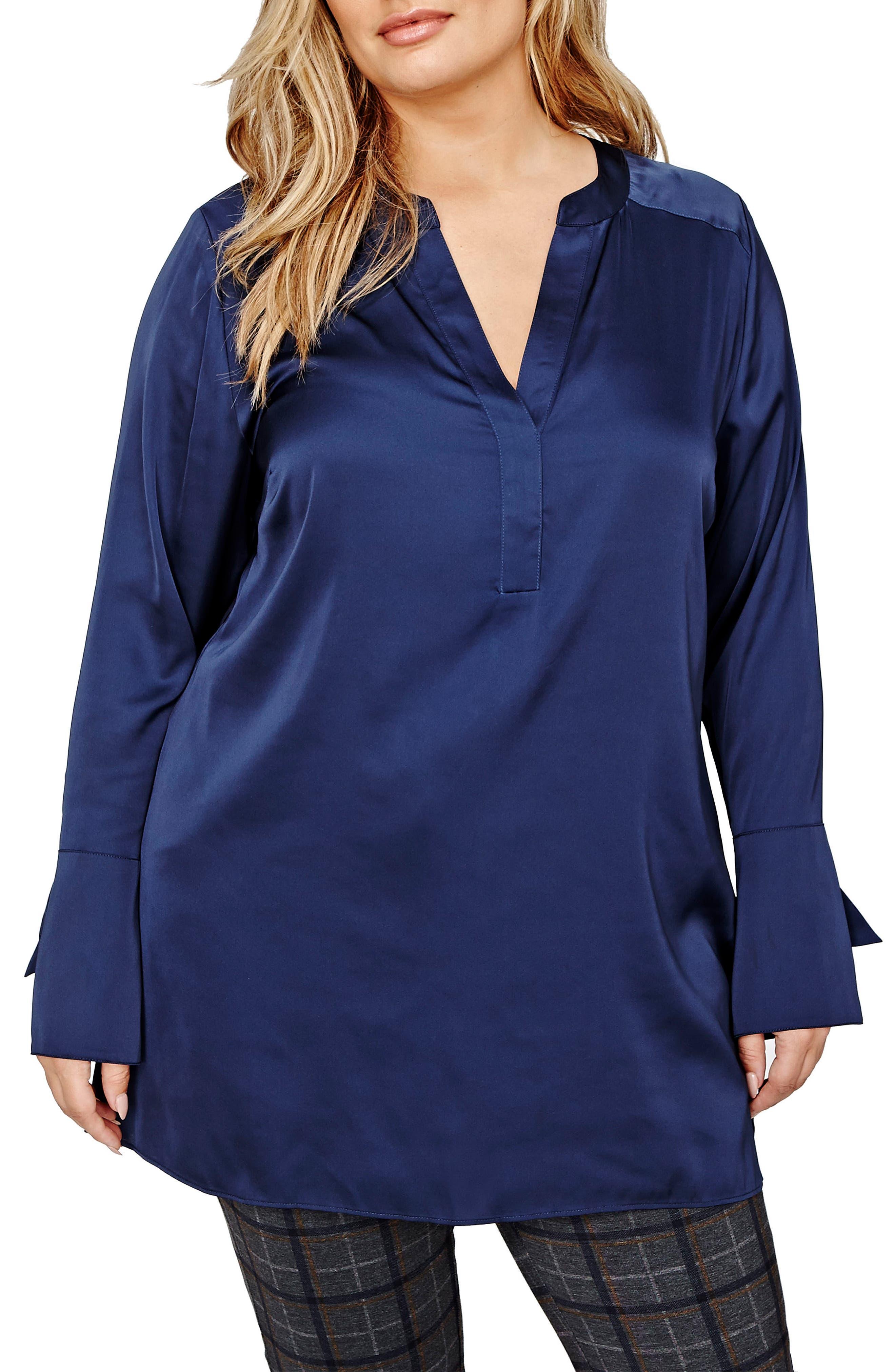 Main Image - Michel Studio Bell Sleeve Tunic Shirt (Plus Size)