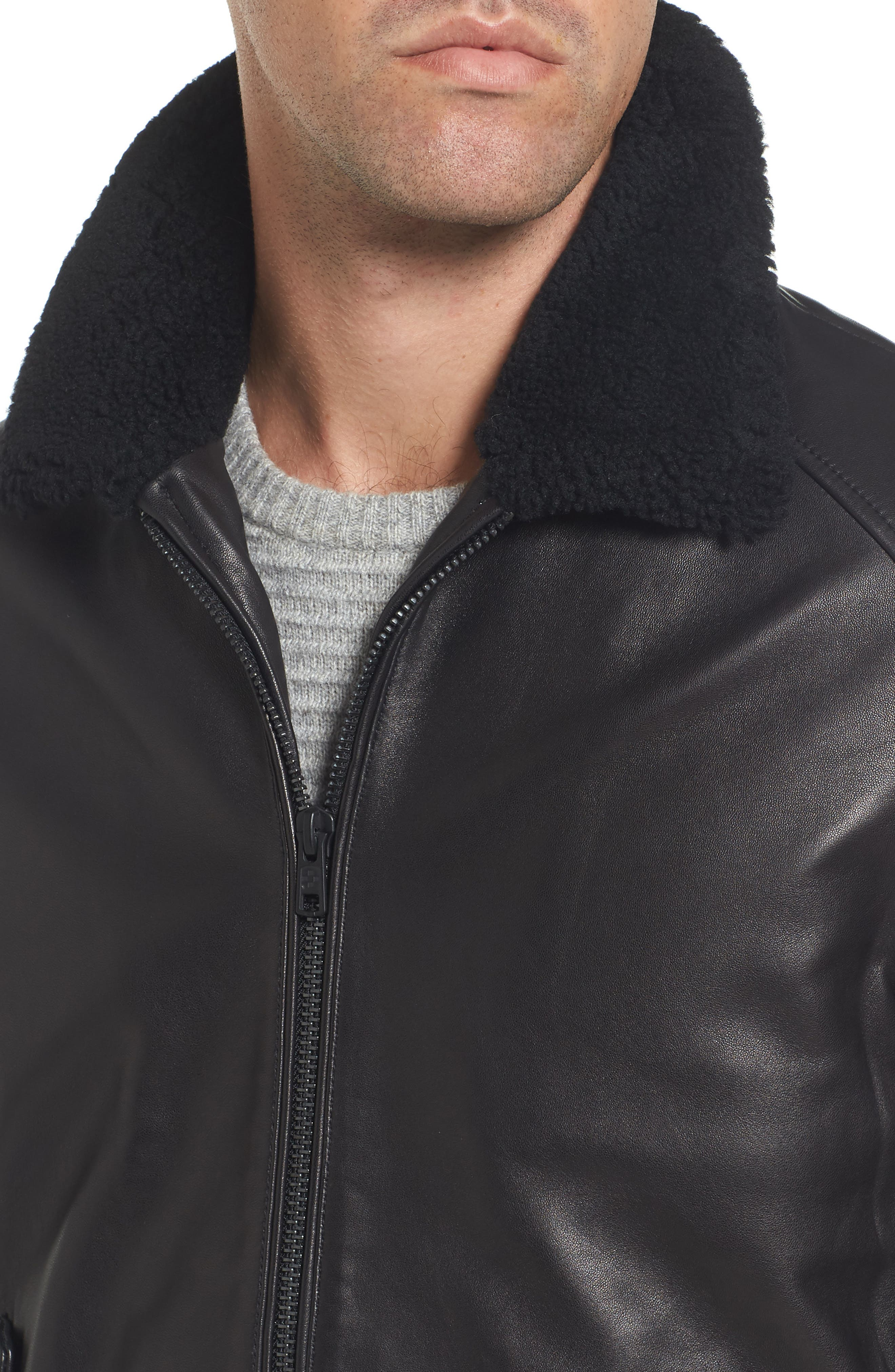 Genuine Shearling Leather Jacket,                             Alternate thumbnail 4, color,                             Black