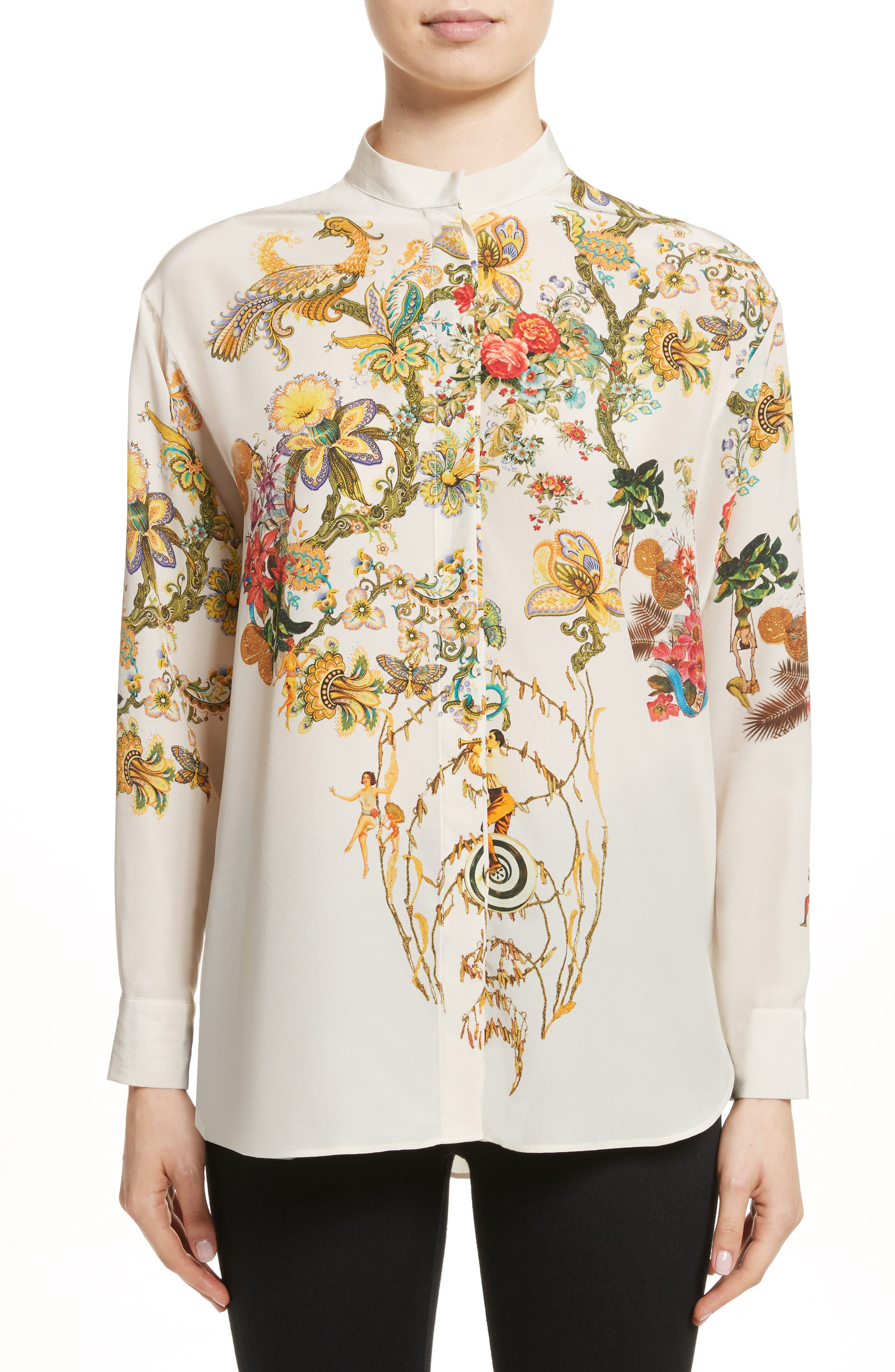Tree of Life Print Silk Blouse,                         Main,                         color, White