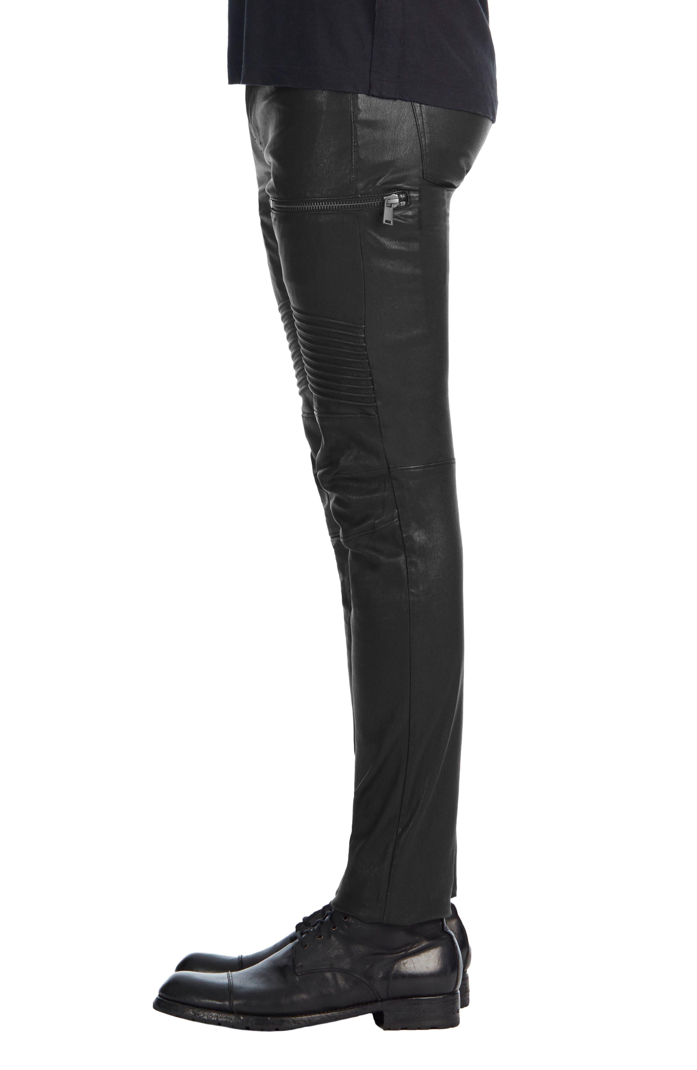 Acrux Skinny Leg Leather Pants,                             Alternate thumbnail 3, color,                             Black