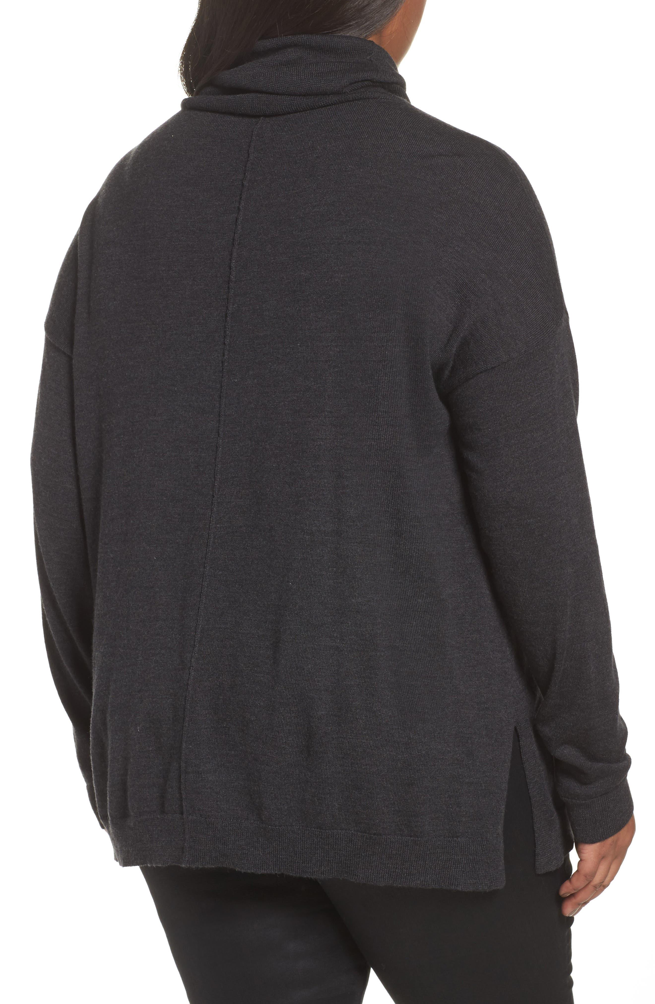 Alternate Image 2  - Eileen Fisher Merino Wool Turtleneck Sweater (Plus Size)