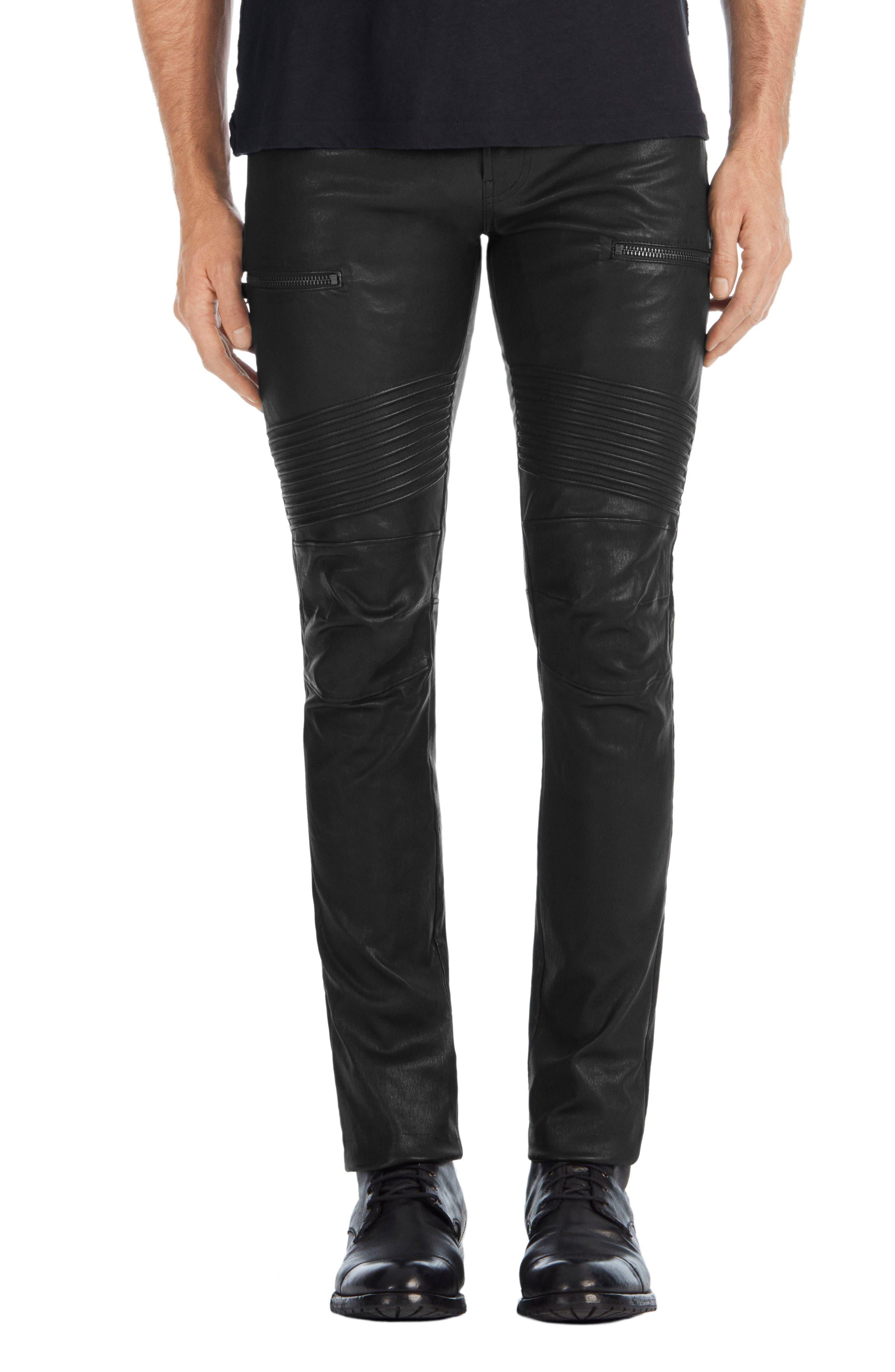 Acrux Skinny Leg Leather Pants,                             Main thumbnail 1, color,                             Black