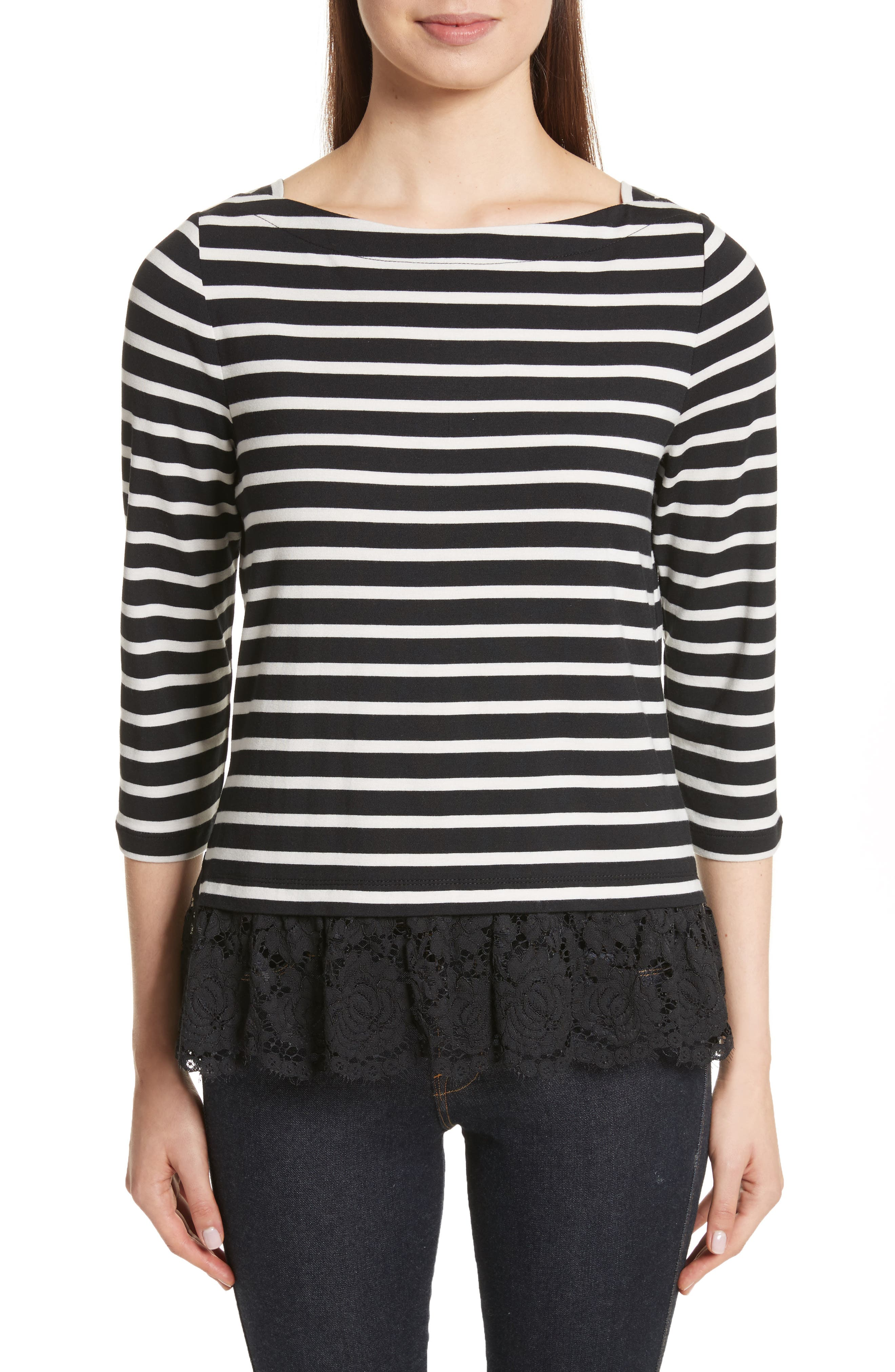 Alternate Image 1 Selected - kate spade lace flounce stripe top