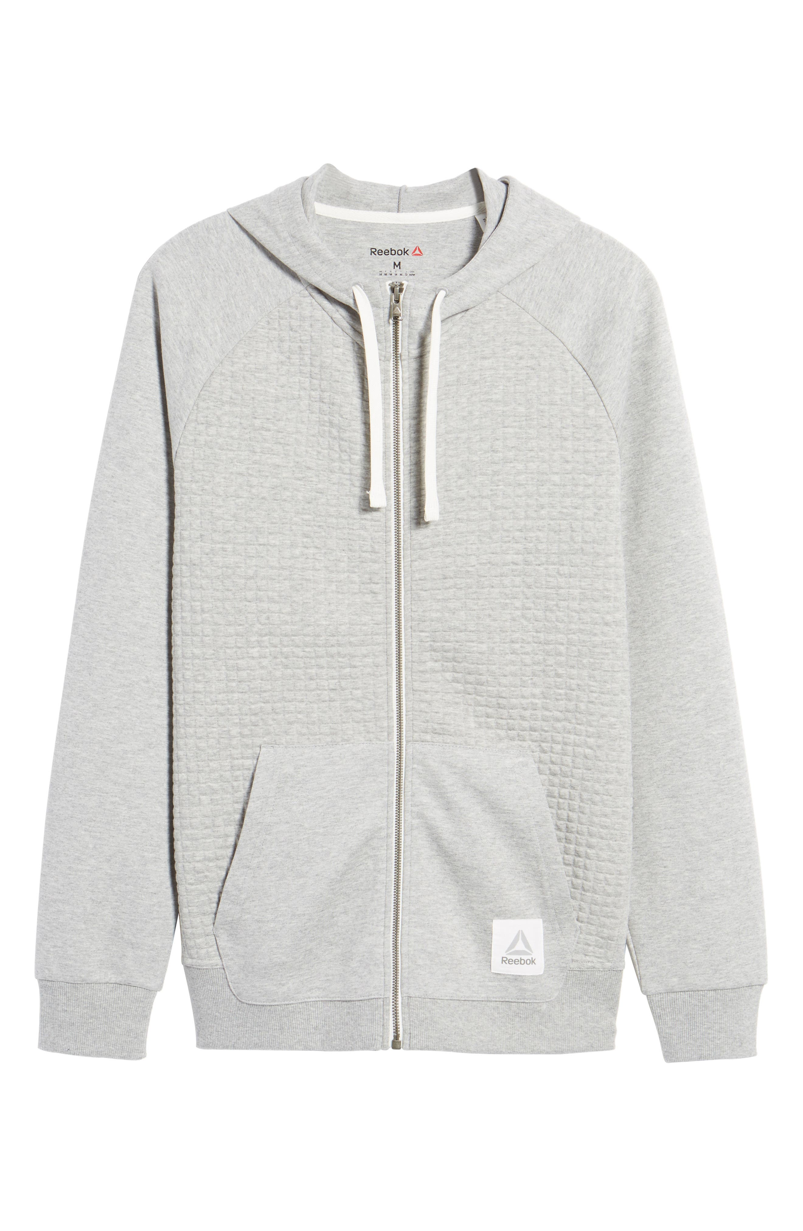 Classic Quilted Zip Hoodie,                             Alternate thumbnail 6, color,                             Medium Grey Heather