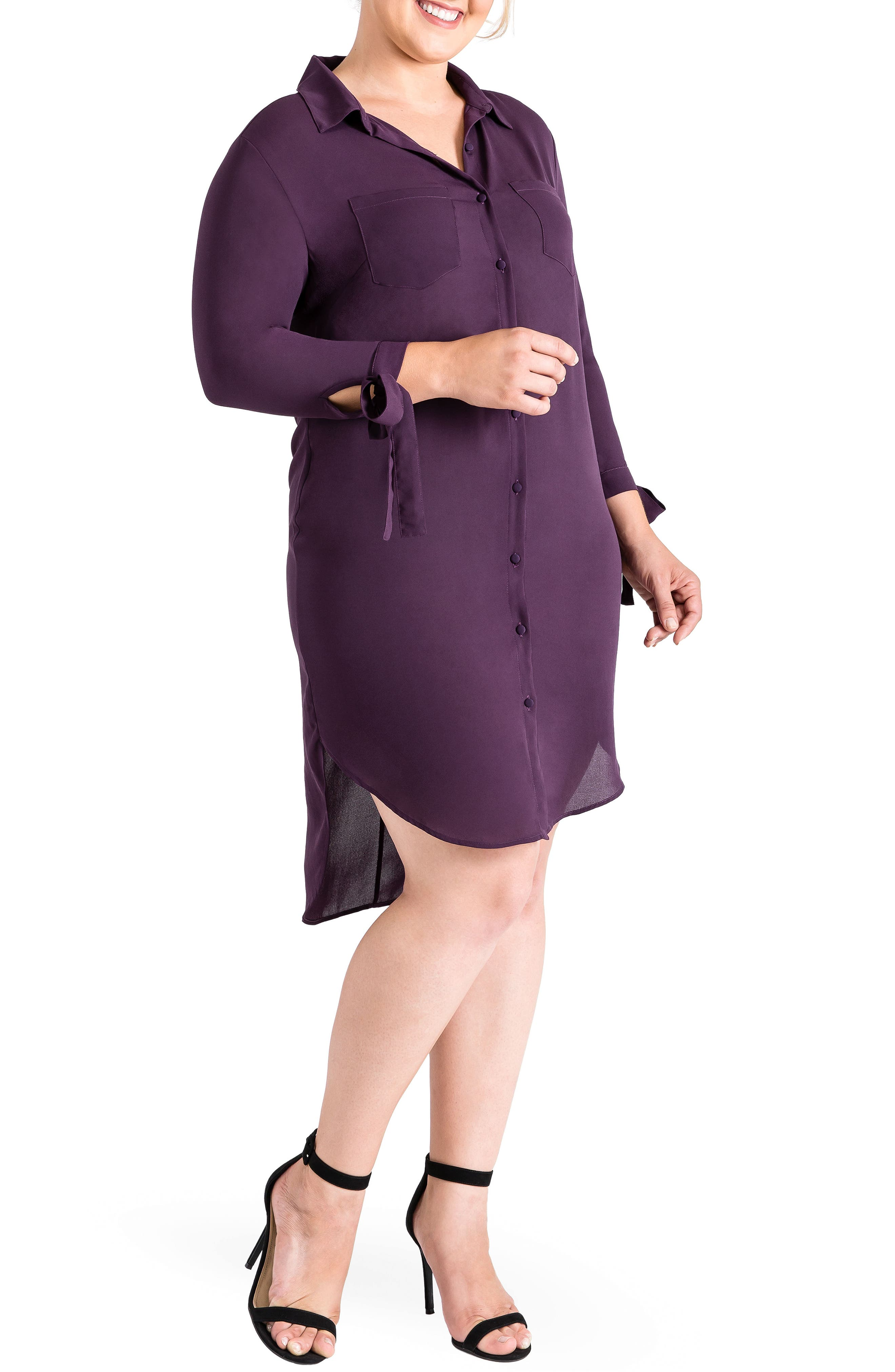 Jay High/Low Shirtdress,                             Main thumbnail 1, color,                             Purple