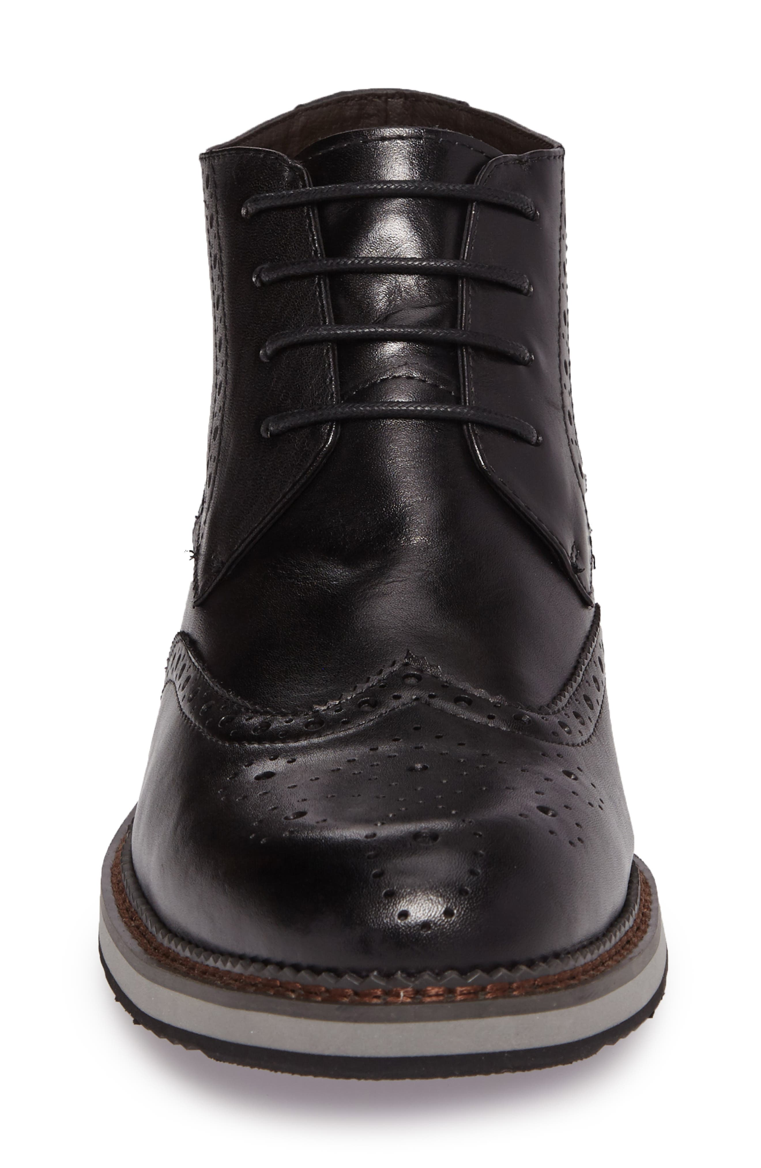 Ascot Wingtip Boot,                             Alternate thumbnail 4, color,                             Black Leather