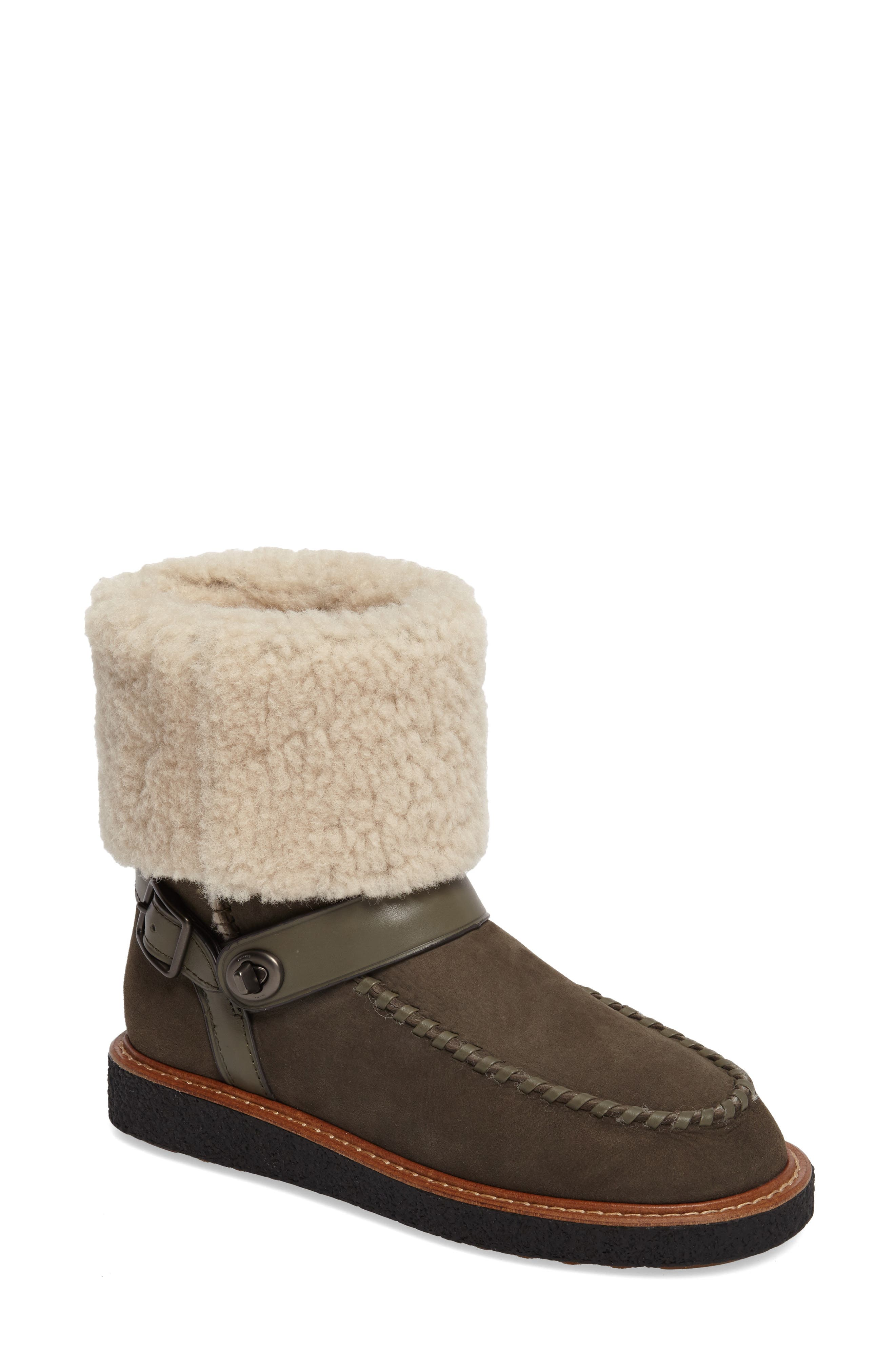 Genuine Shearling Moto Boot,                             Main thumbnail 1, color,                             Olive Suede