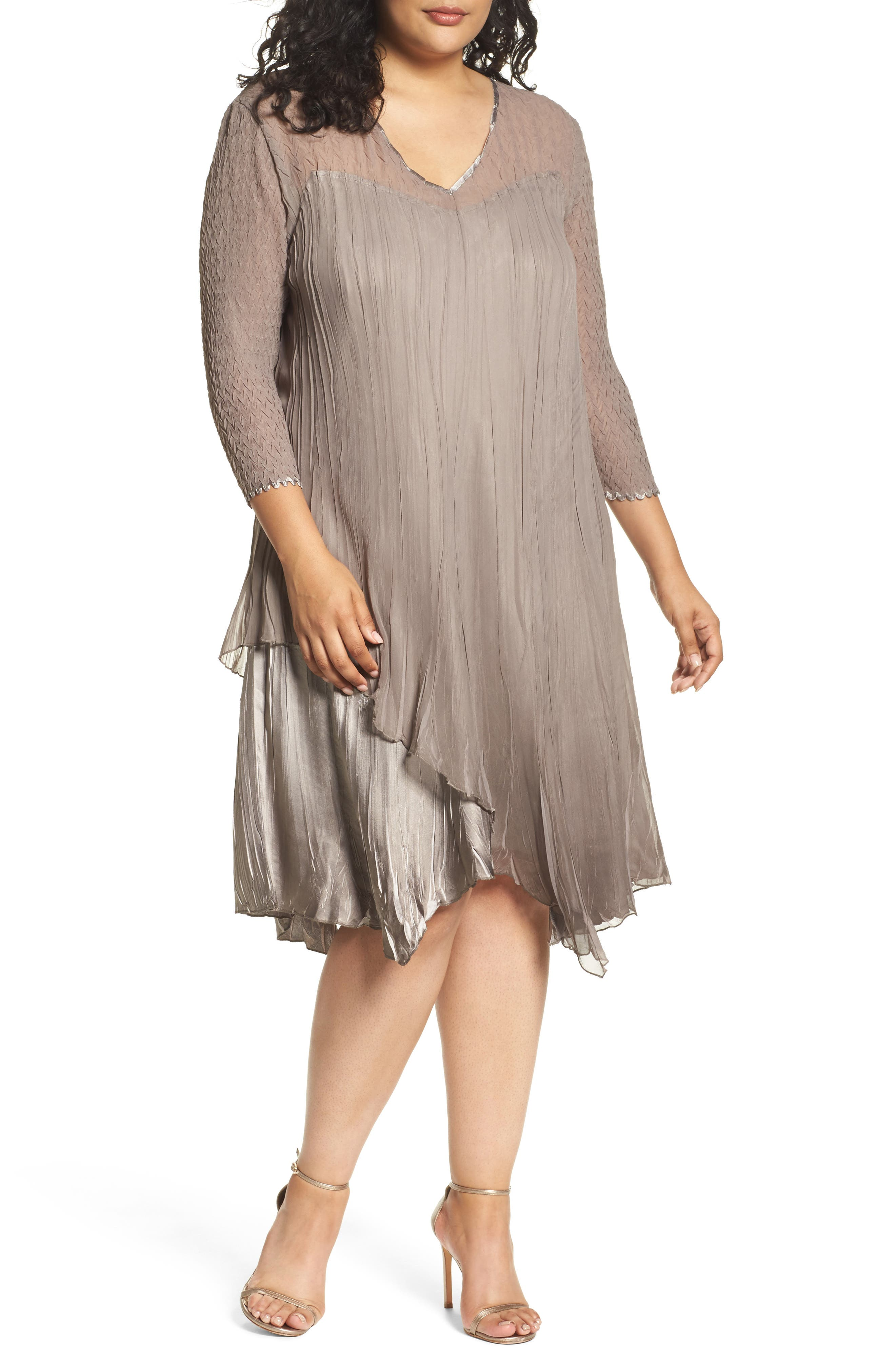 Tiered Dress,                         Main,                         color, Oyster Smoke