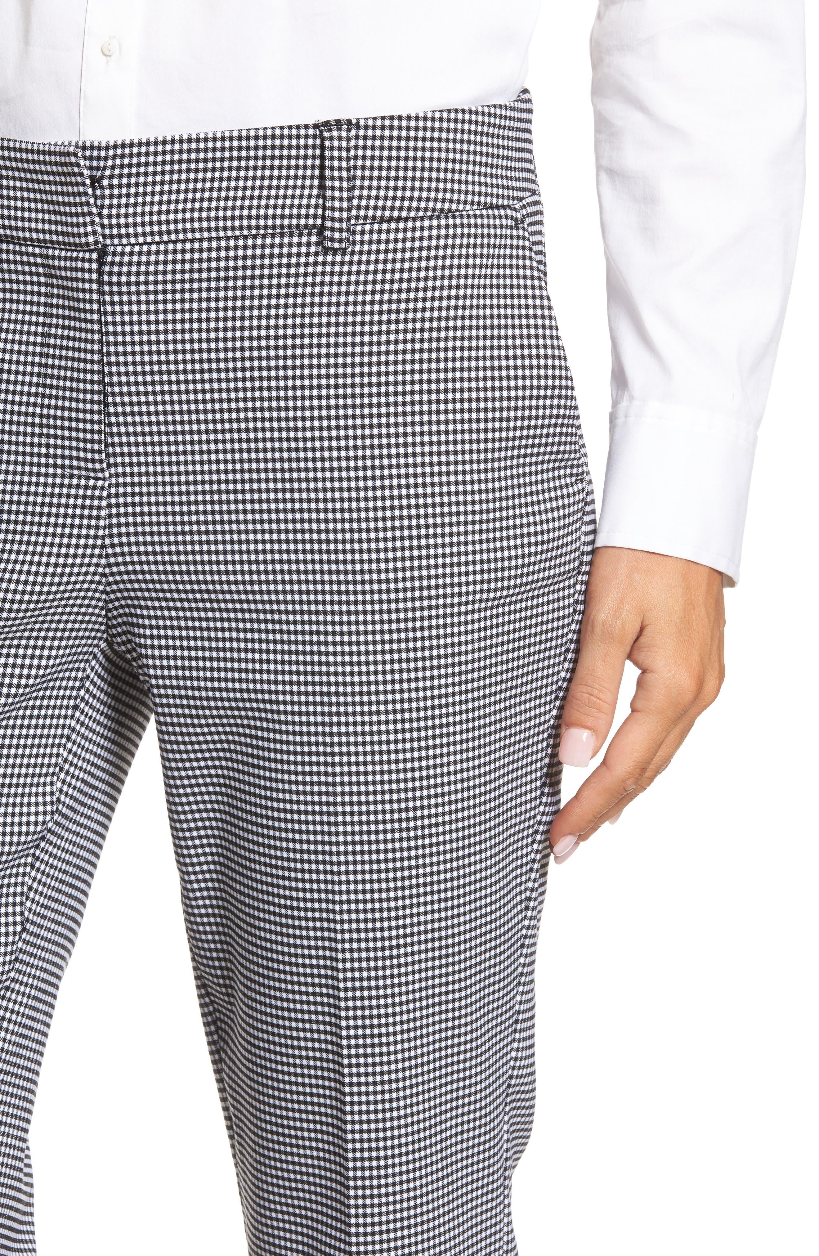 Crop Stretch Cotton Pants,                             Alternate thumbnail 6, color,                             Black- White Gingham
