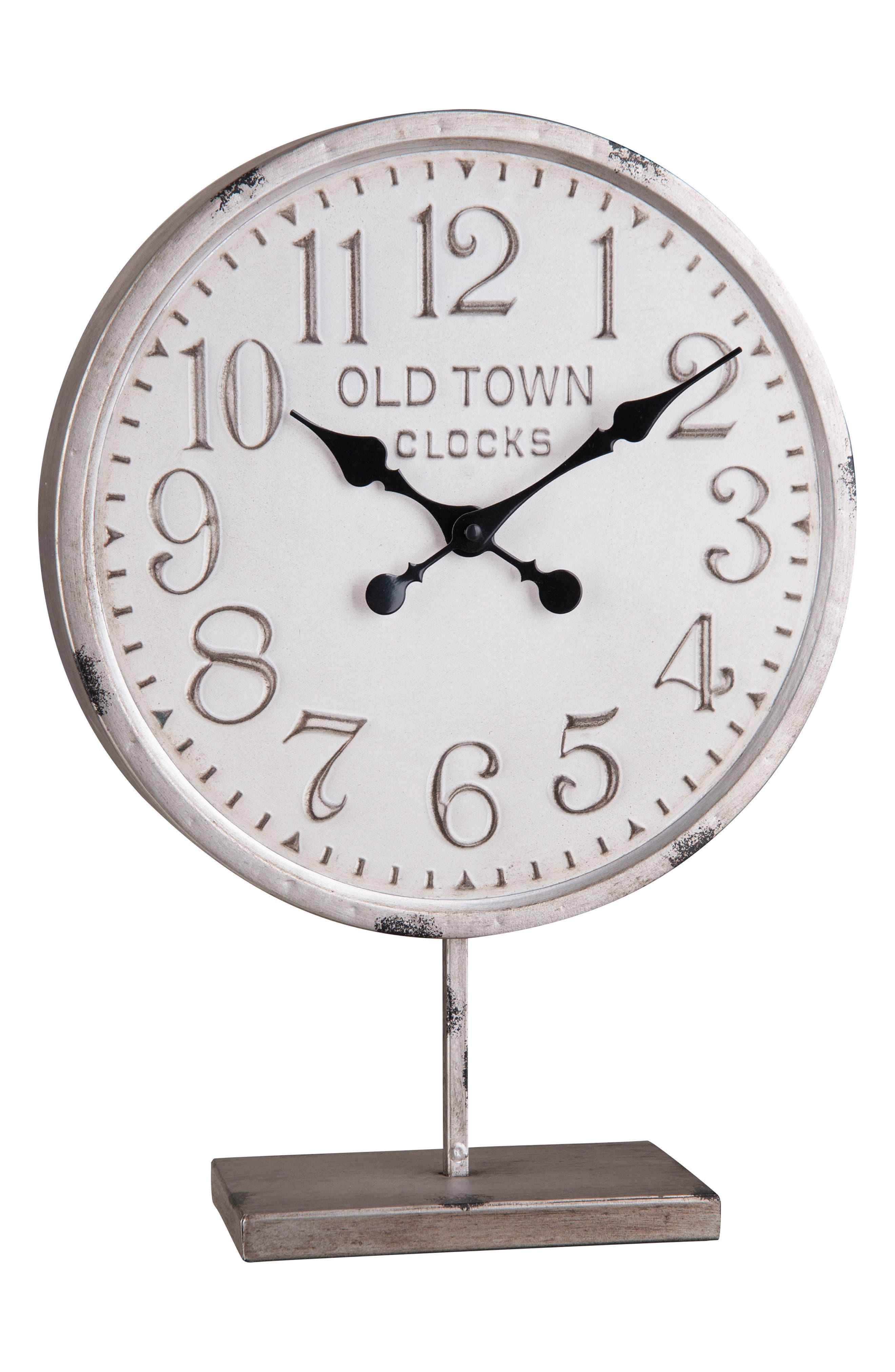 Round Tabletop Clock,                             Main thumbnail 1, color,                             Metal
