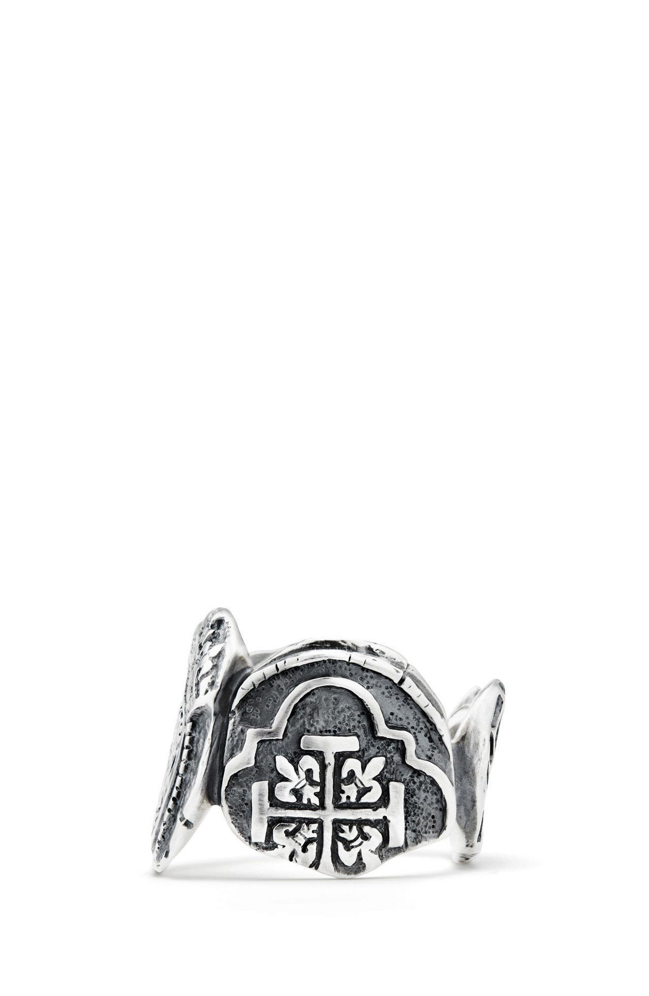 Shipwreck Signet Coin Ring, 20mm,                             Alternate thumbnail 2, color,                             Silver