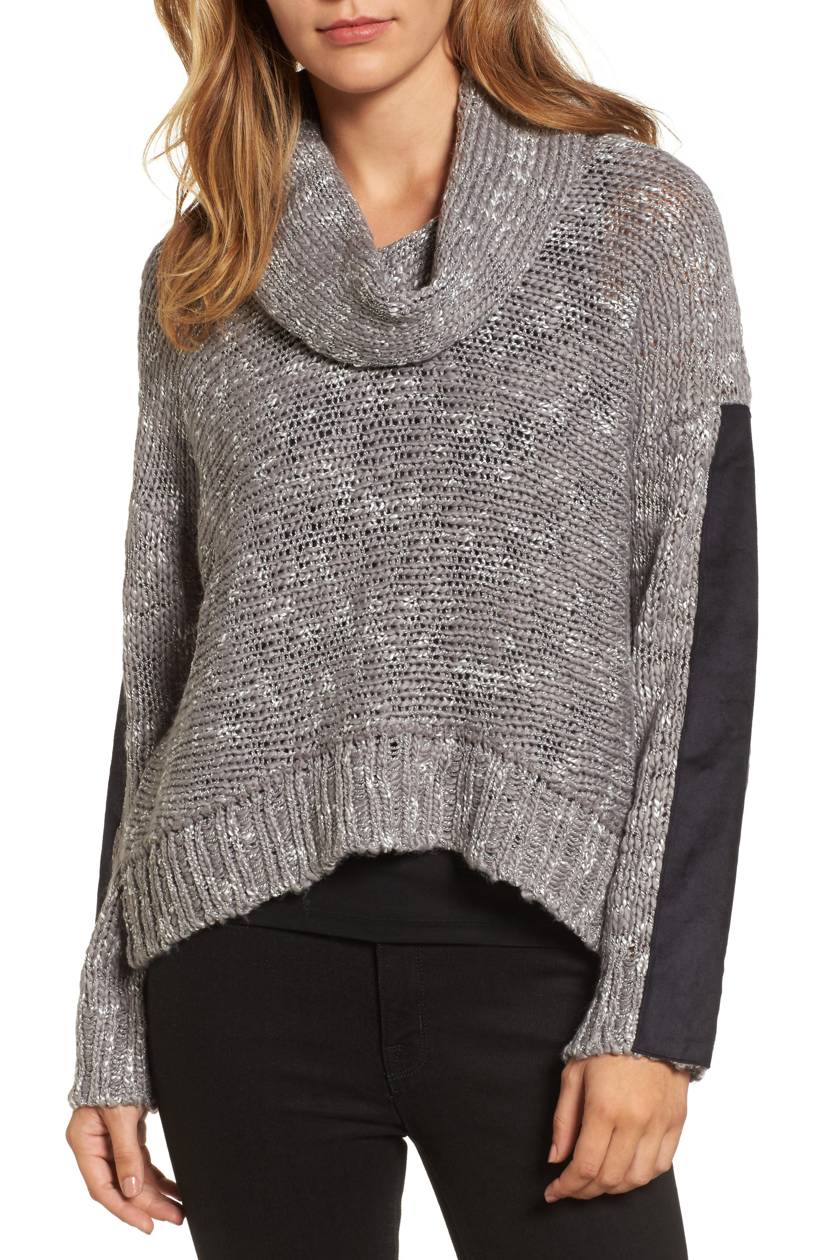 Main Image - Press Cowl Neck Patch Sleeve Sweater