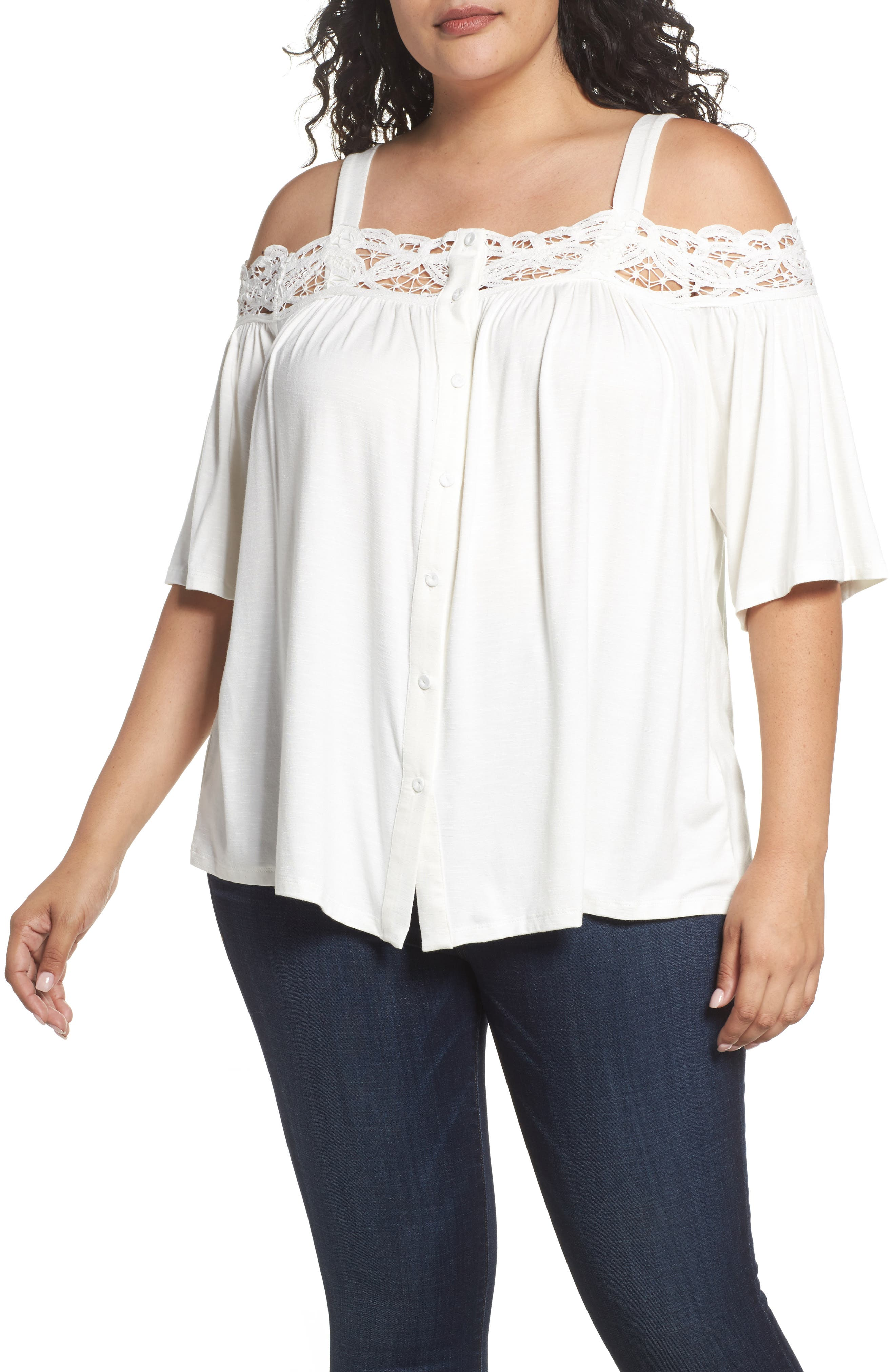 Daniel Rainn Crochet Trim Cold Shoulder Top (Plus Size)
