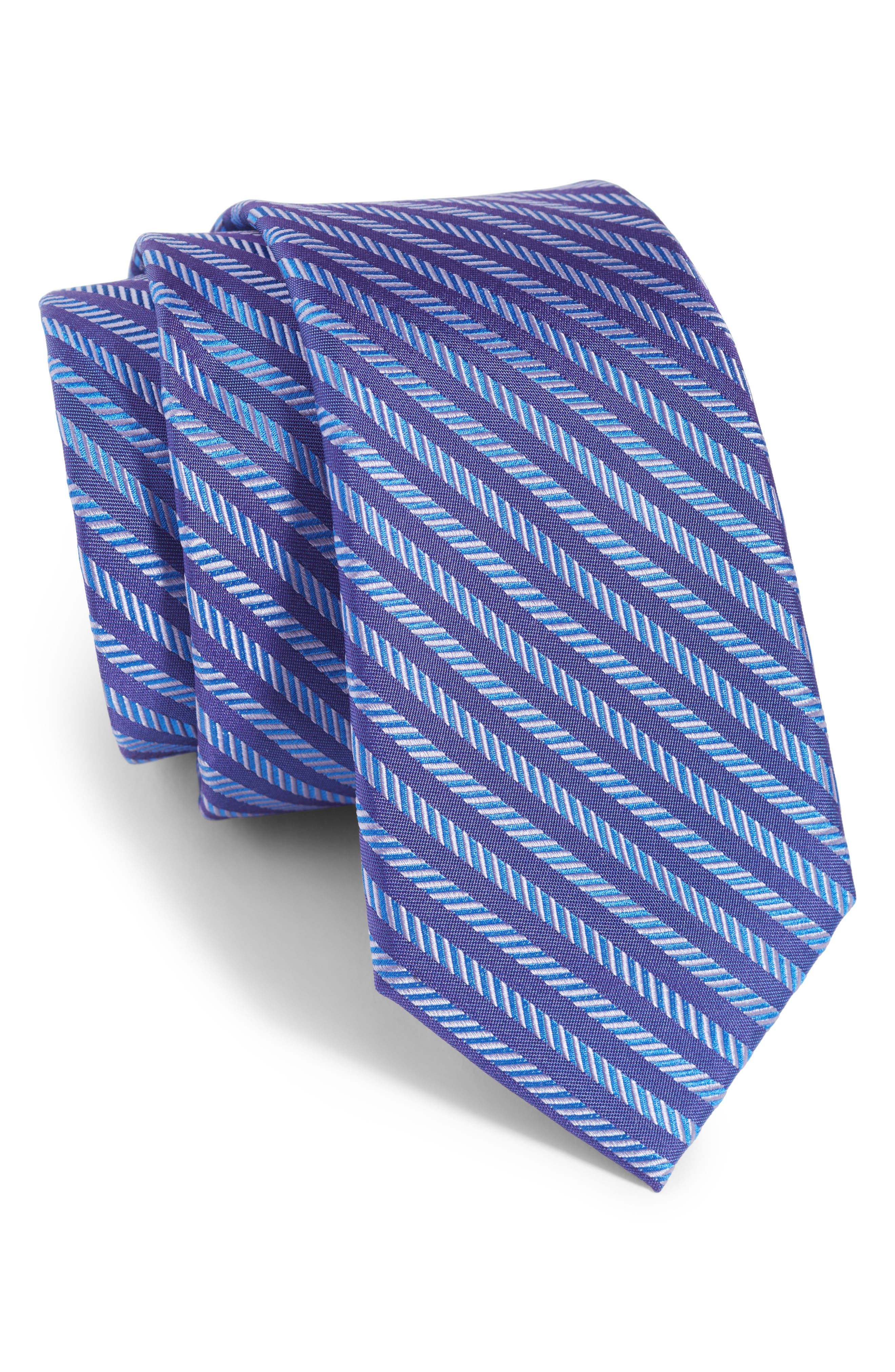 Michael Kors Herringbone Stripe Silk Tie (Boys)