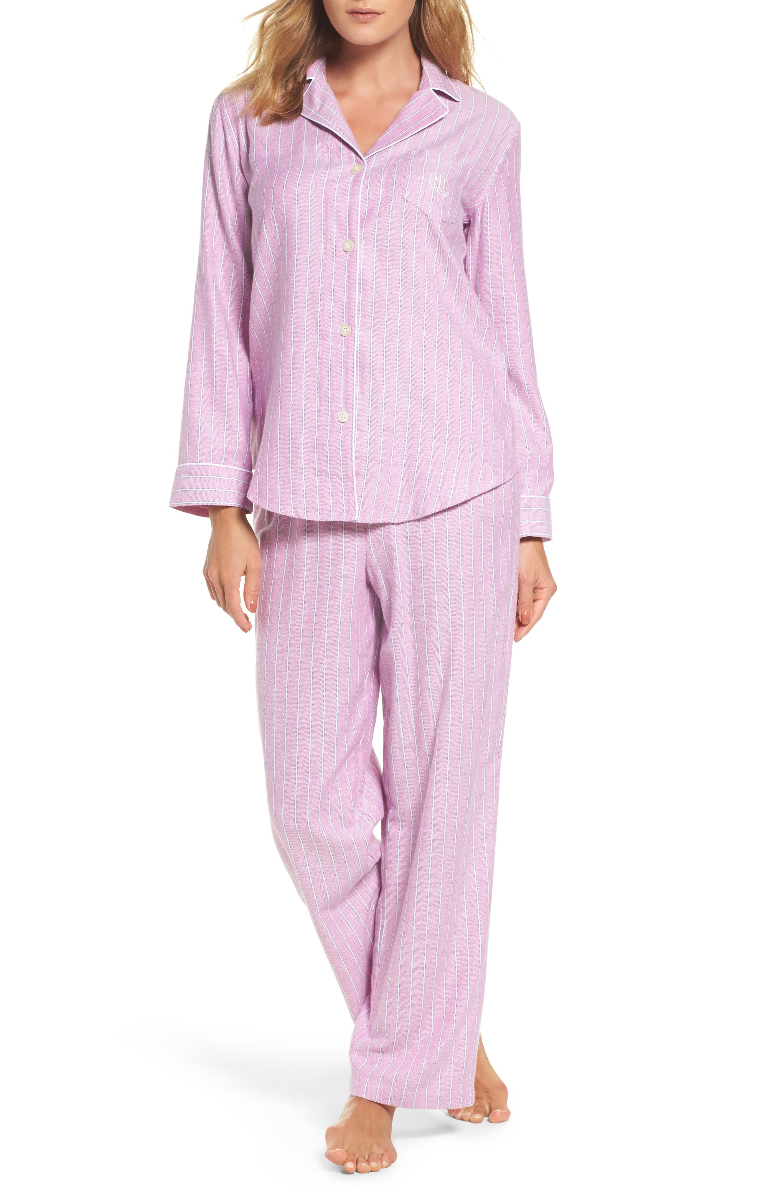 Alternate Image 1 Selected - Lauren Ralph Lauren Long Pajamas