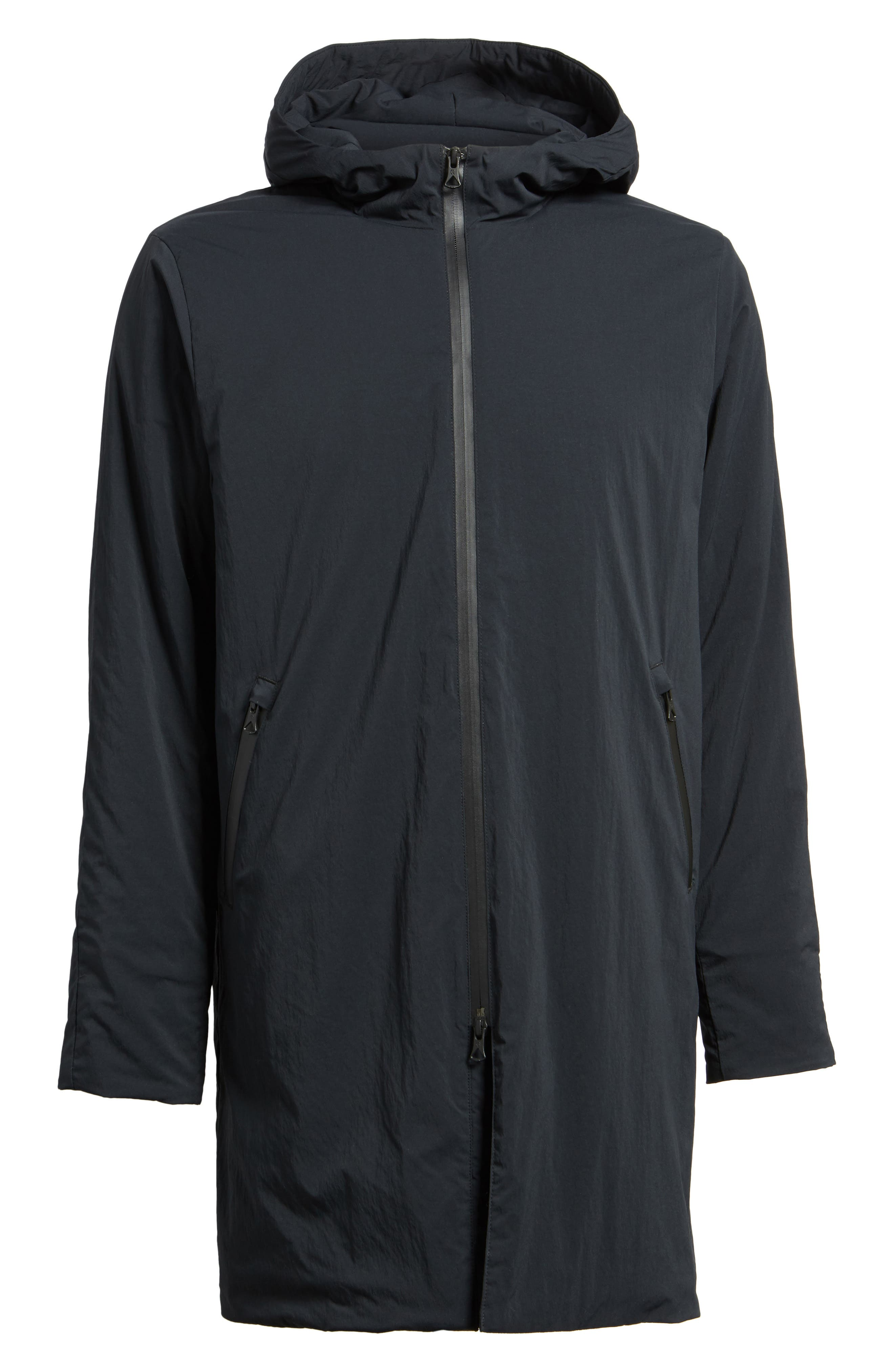 Insulated Trim Sideline Jacket,                             Alternate thumbnail 6, color,                             Black