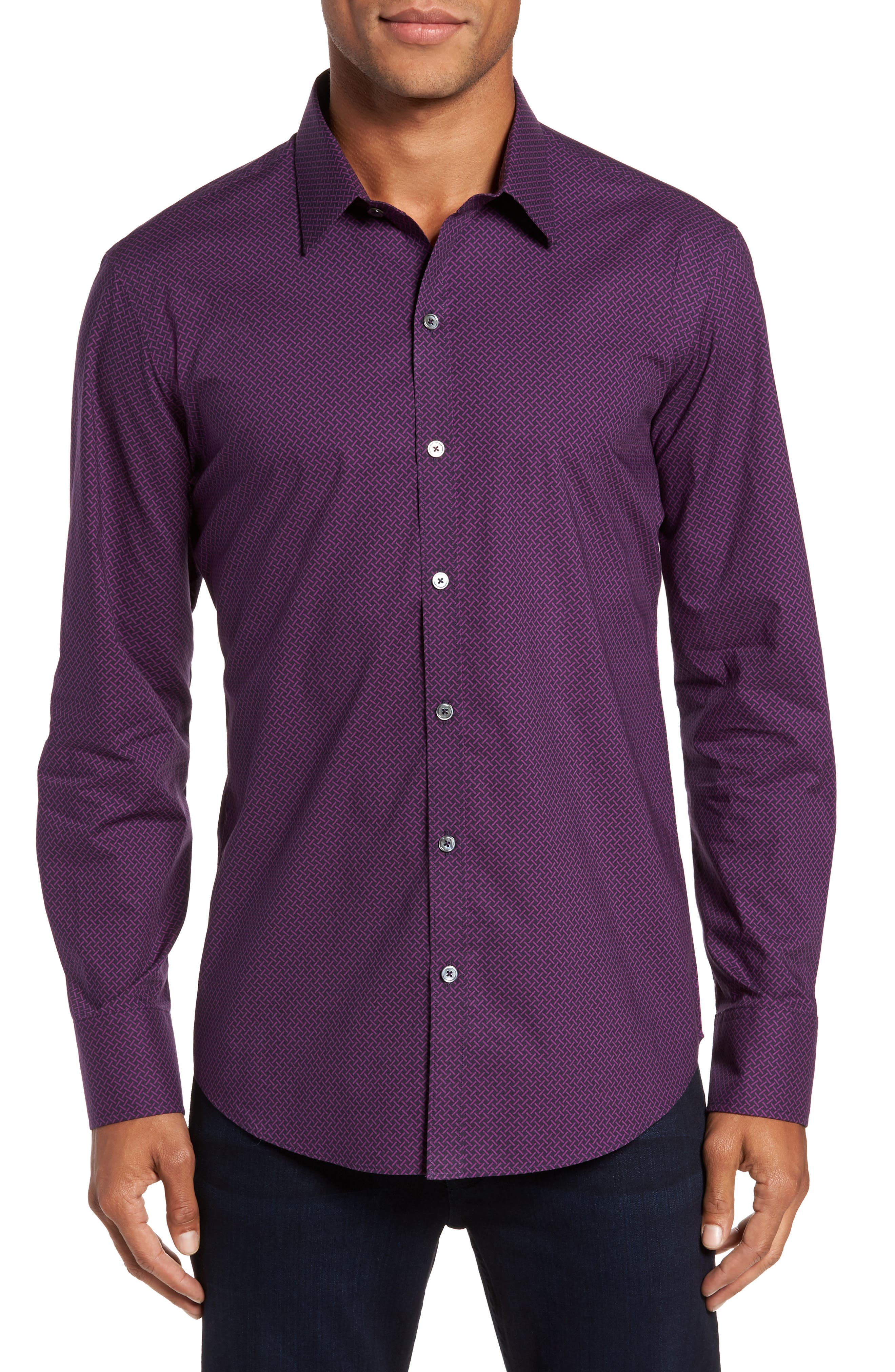 Dewyze Print Sport Shirt,                         Main,                         color, Purple