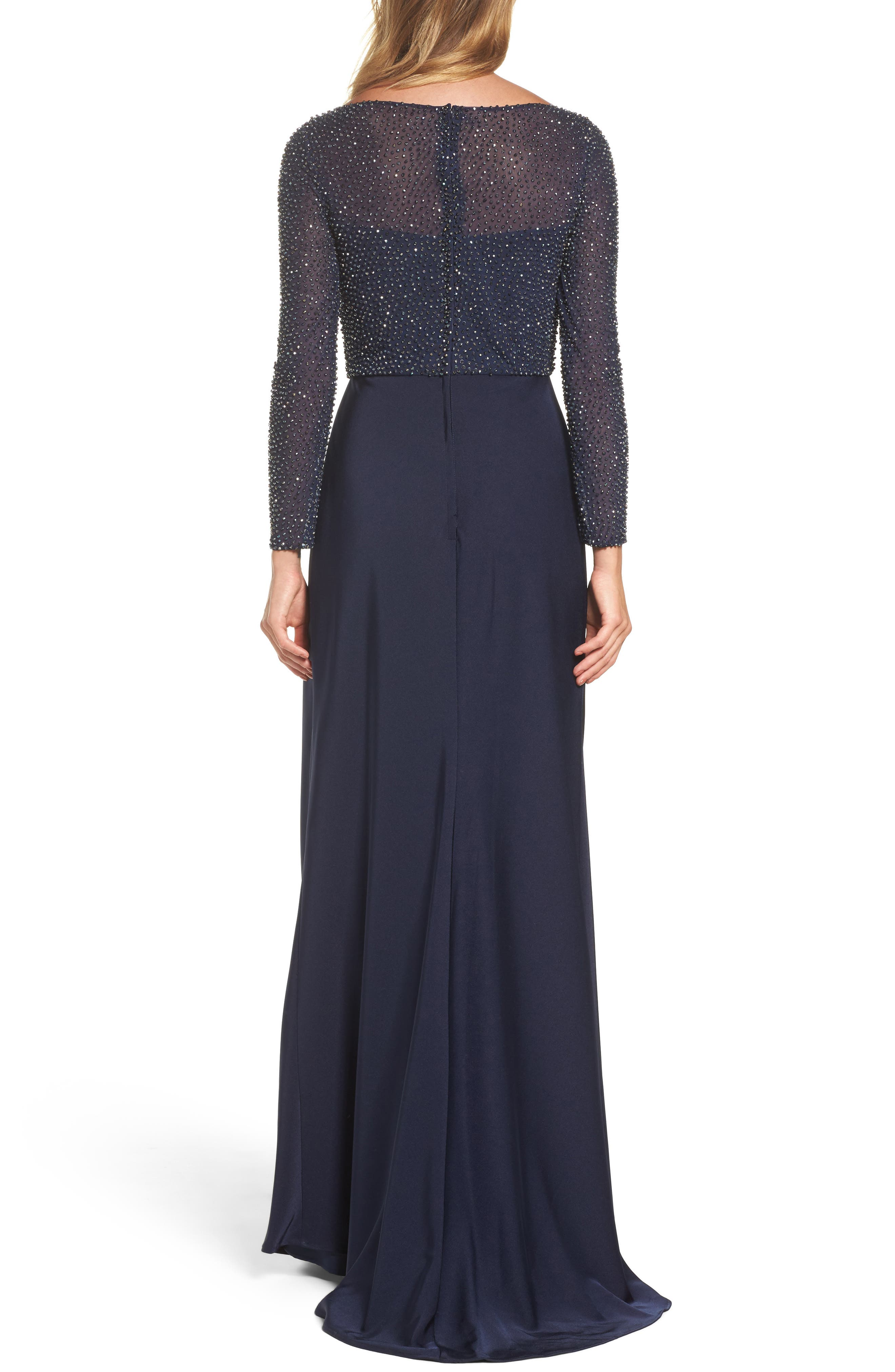 Bead Embellished Gown,                             Alternate thumbnail 2, color,                             Navy