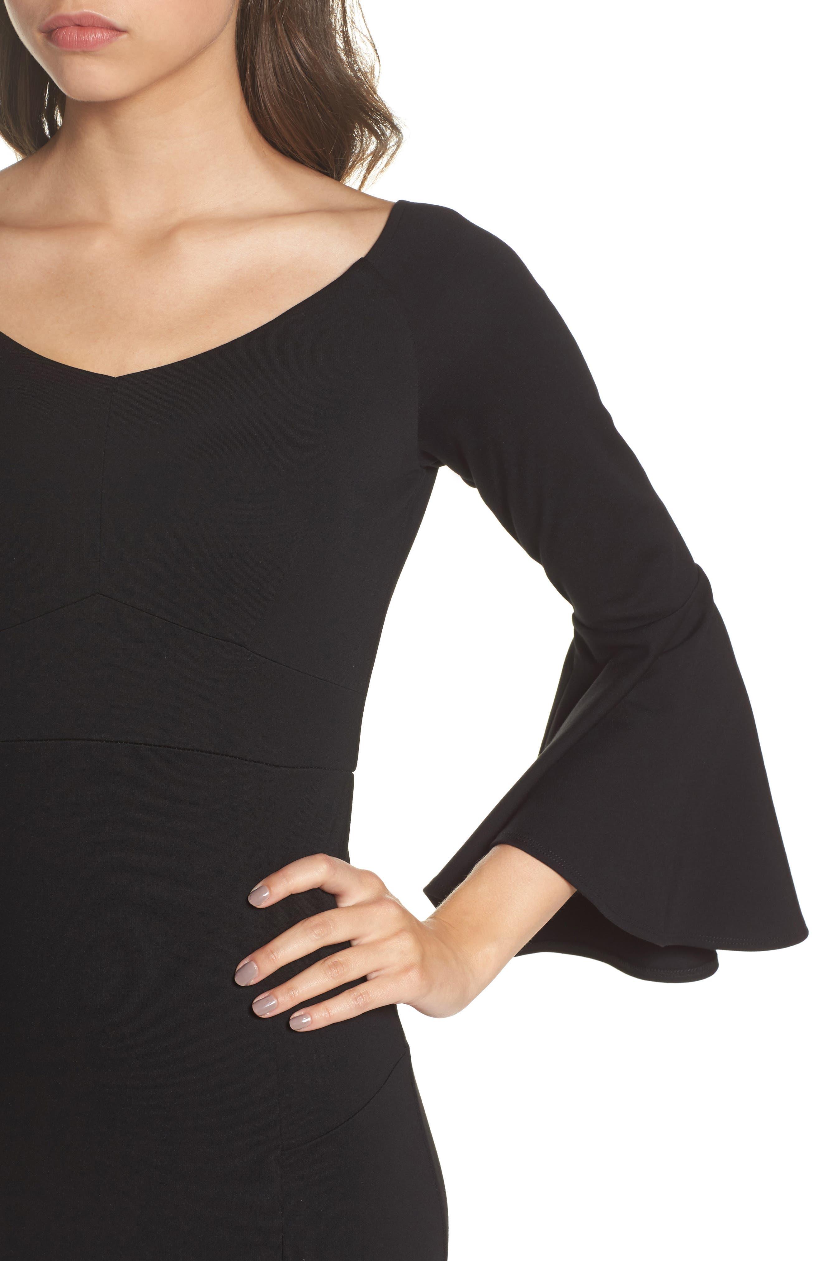 Milly Bell Sleeve Midi Dress,                             Alternate thumbnail 4, color,                             Black