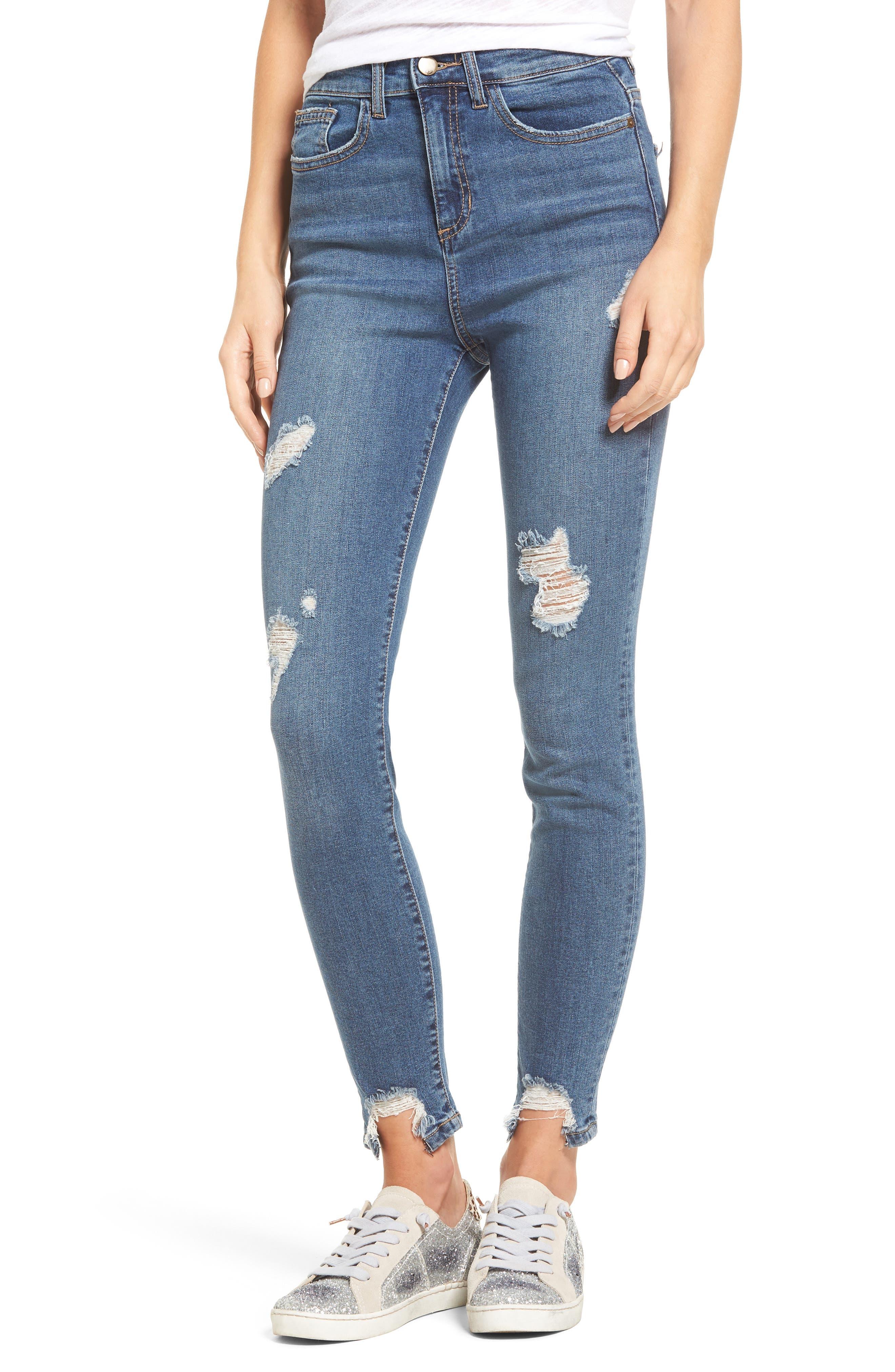 High Waist Step Hem Skinny Jeans,                             Main thumbnail 1, color,                             Medium