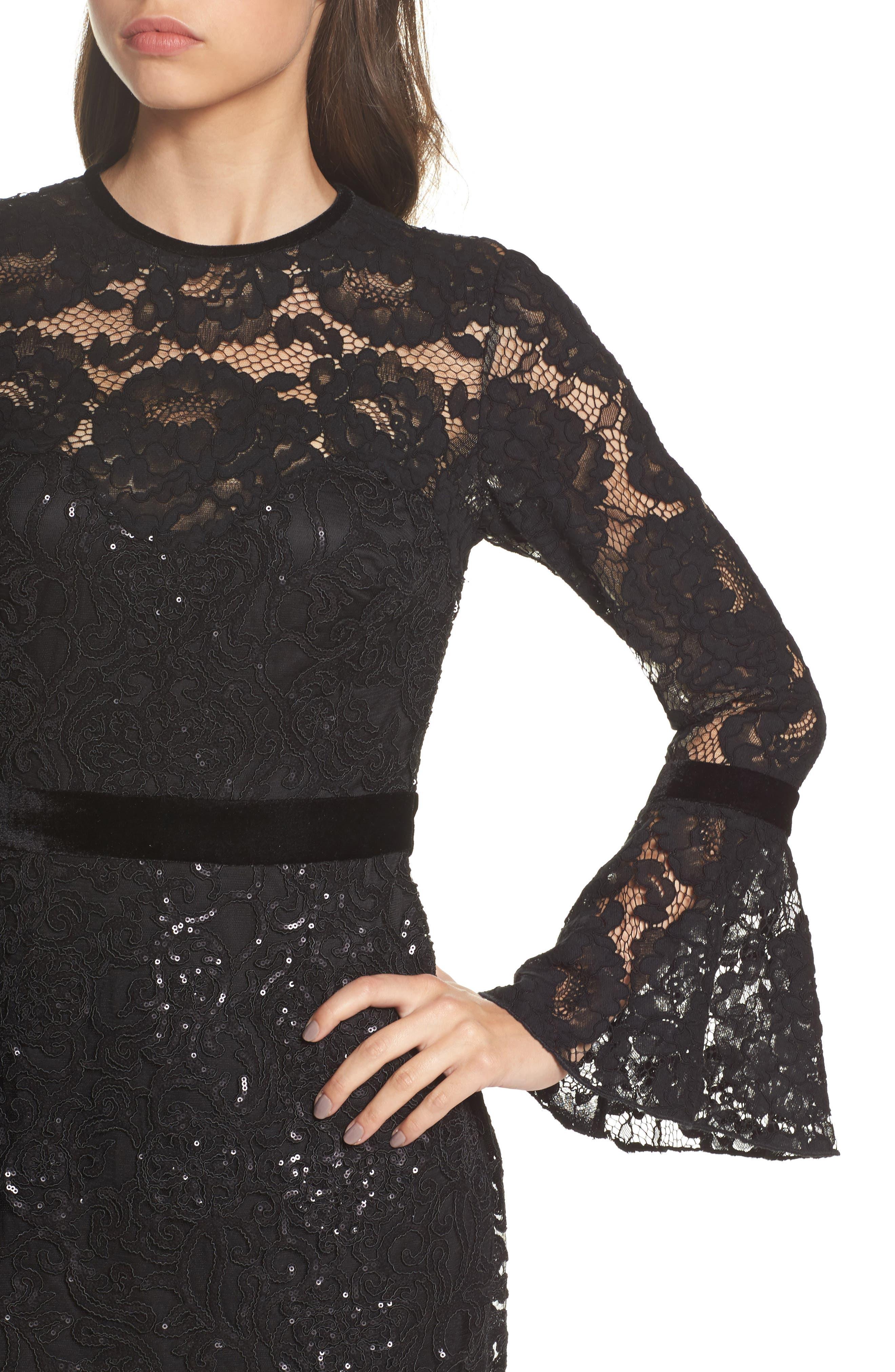 Alternate Image 4  - Tadashi Shoji Bell Sleeve Rose & Sequin Lace Dress