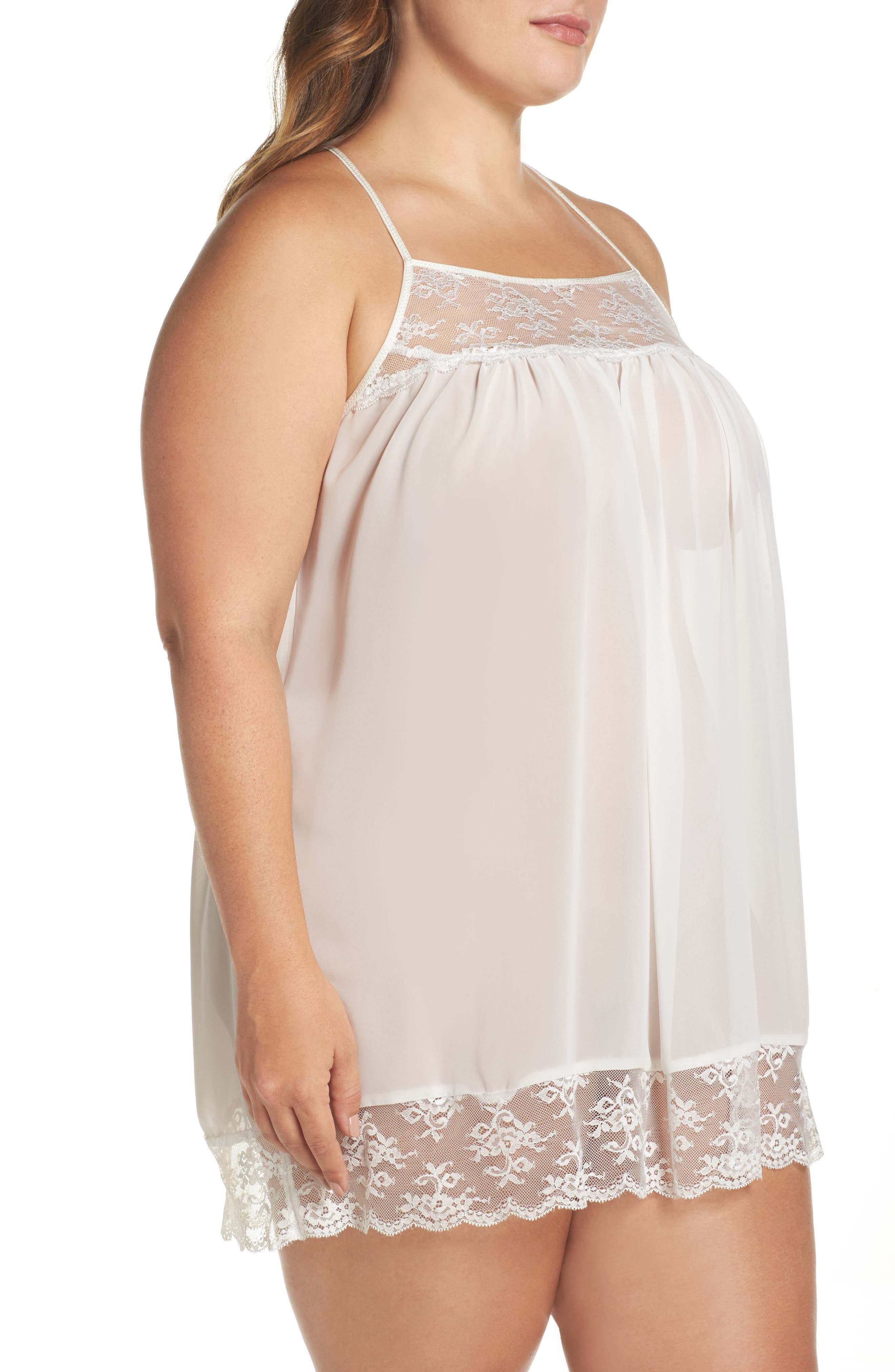 Chiffon Chemise,                             Alternate thumbnail 3, color,                             Ivory
