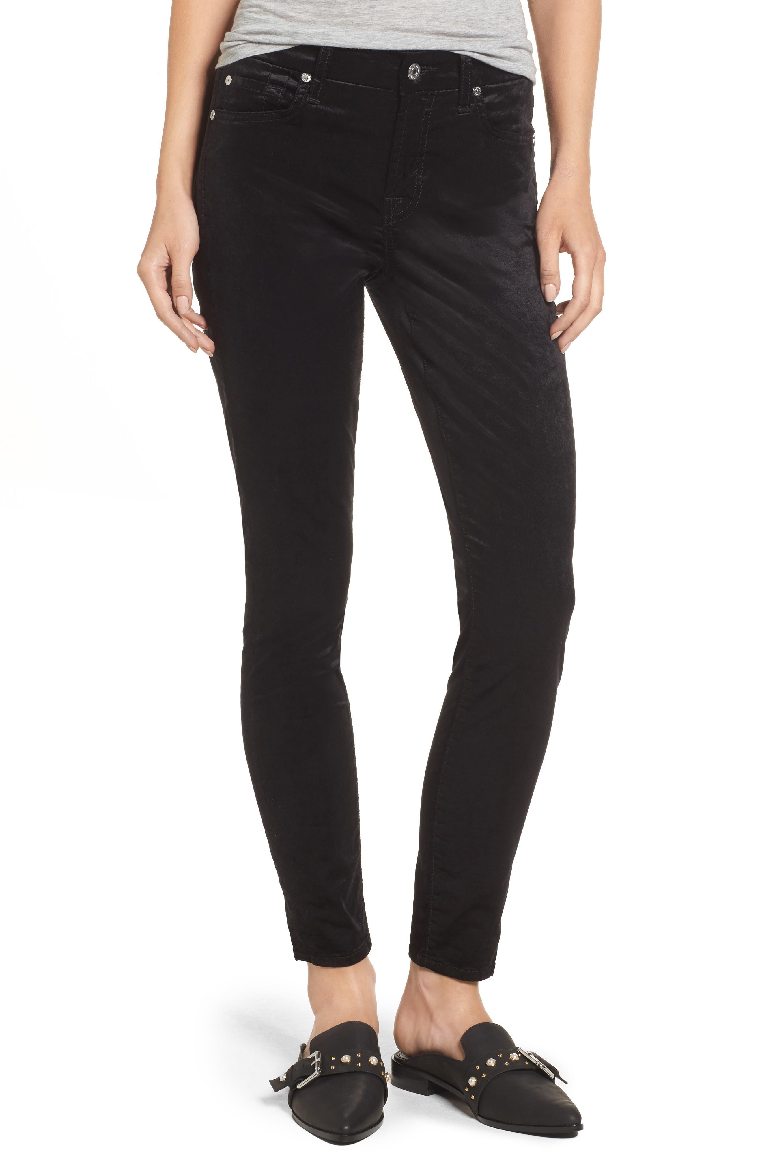 Velvet Ankle Skinny Pants,                         Main,                         color, Black Velvet