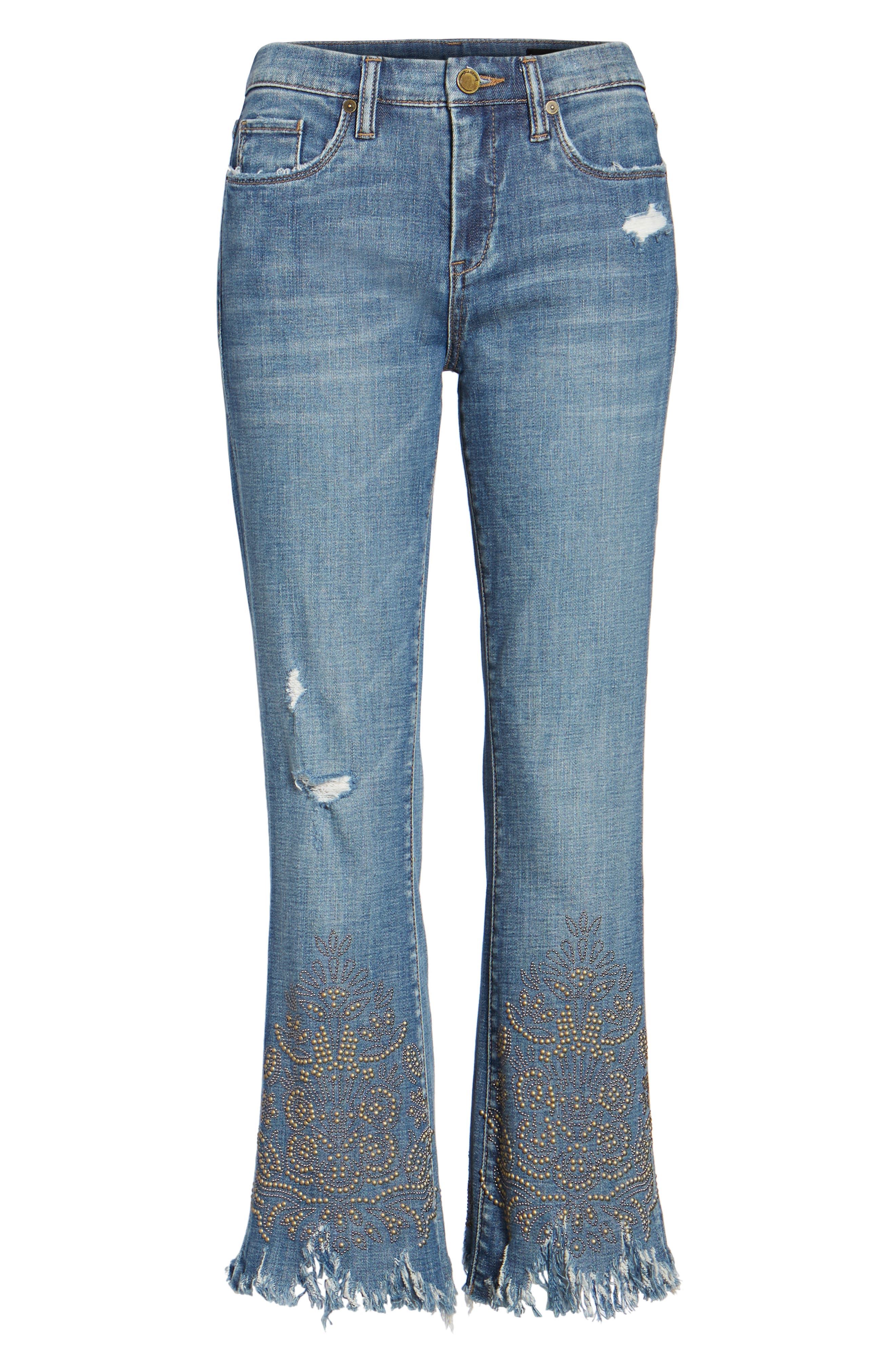 Studded Crop Flare Jeans,                             Alternate thumbnail 6, color,                             Miss Matched Blue