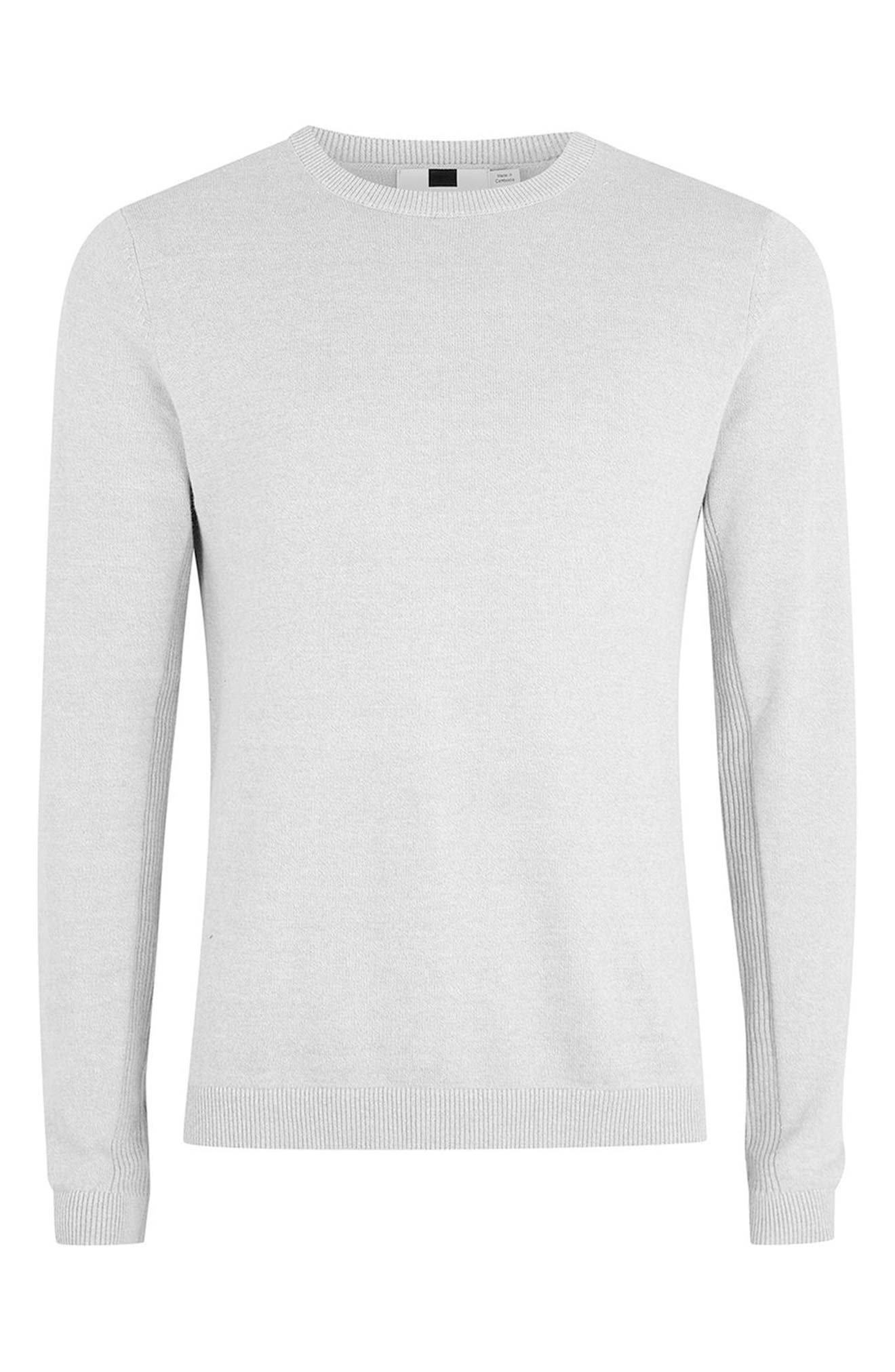 Side Ribbed Slim Fit Sweater,                             Alternate thumbnail 4, color,                             Grey