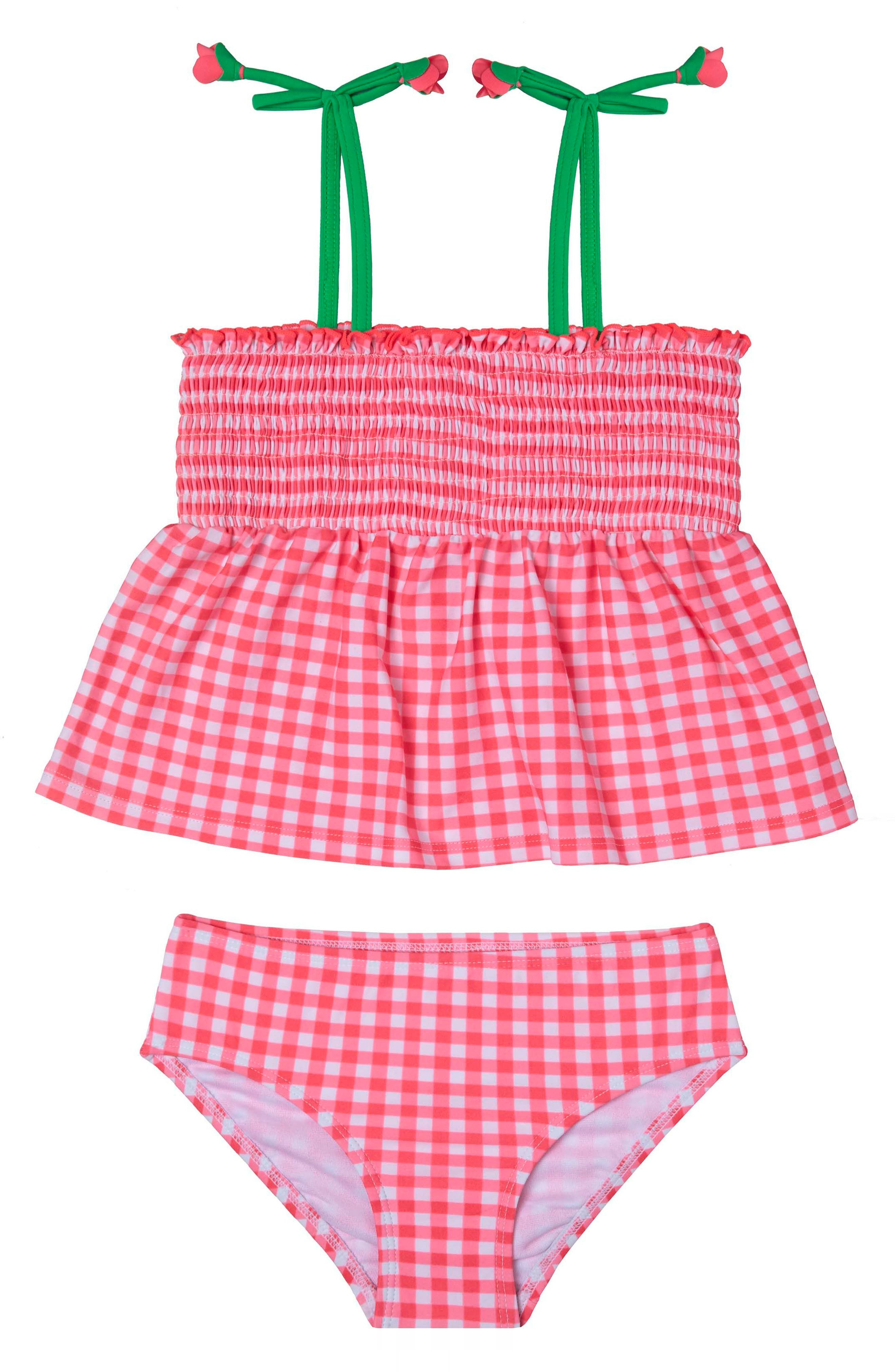 Picnic Gingham Two-Piece Swimsuit,                         Main,                         color, Red
