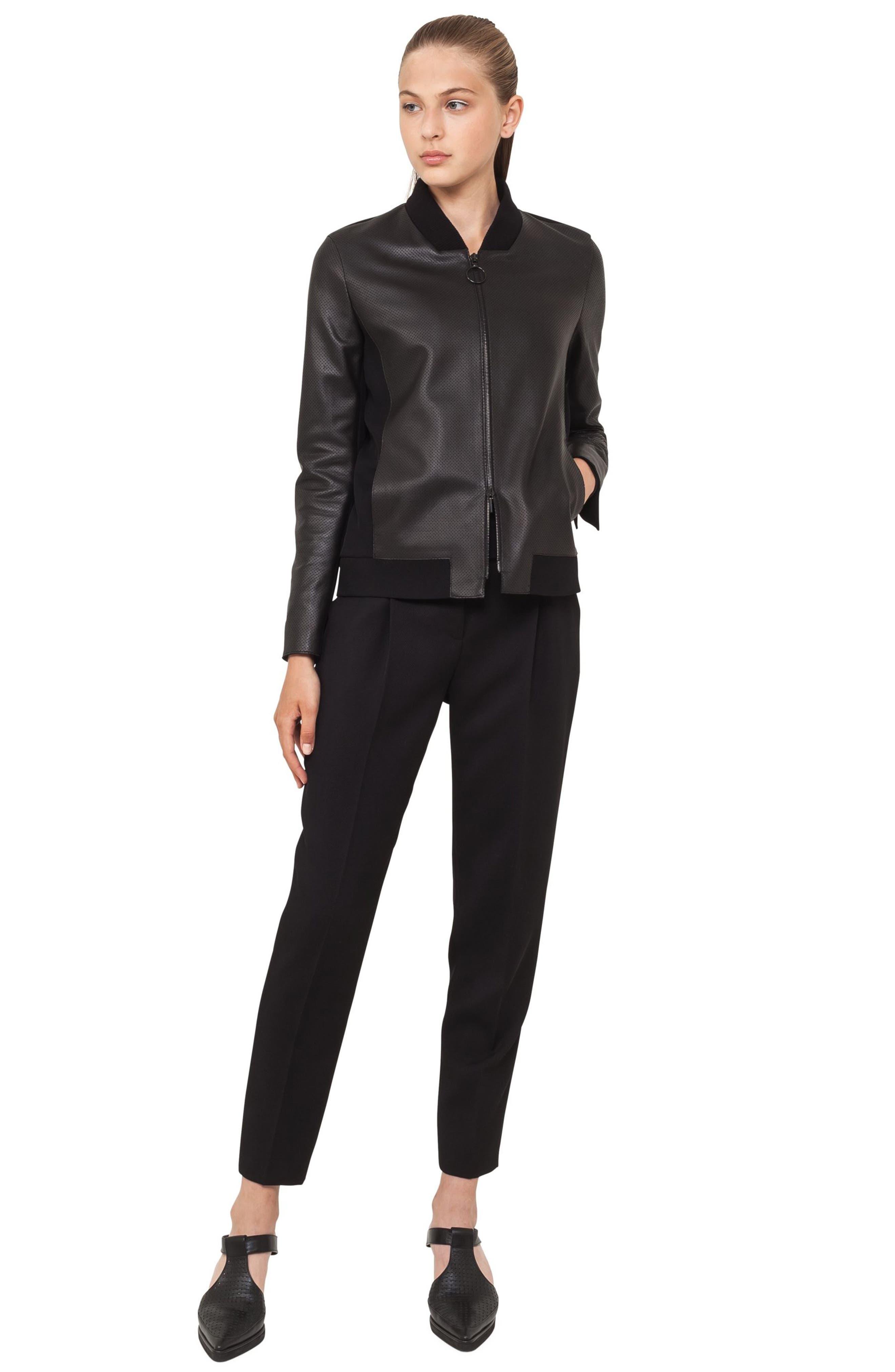 Detachable Hem Leather Bomber Jacket,                             Alternate thumbnail 4, color,                             Black