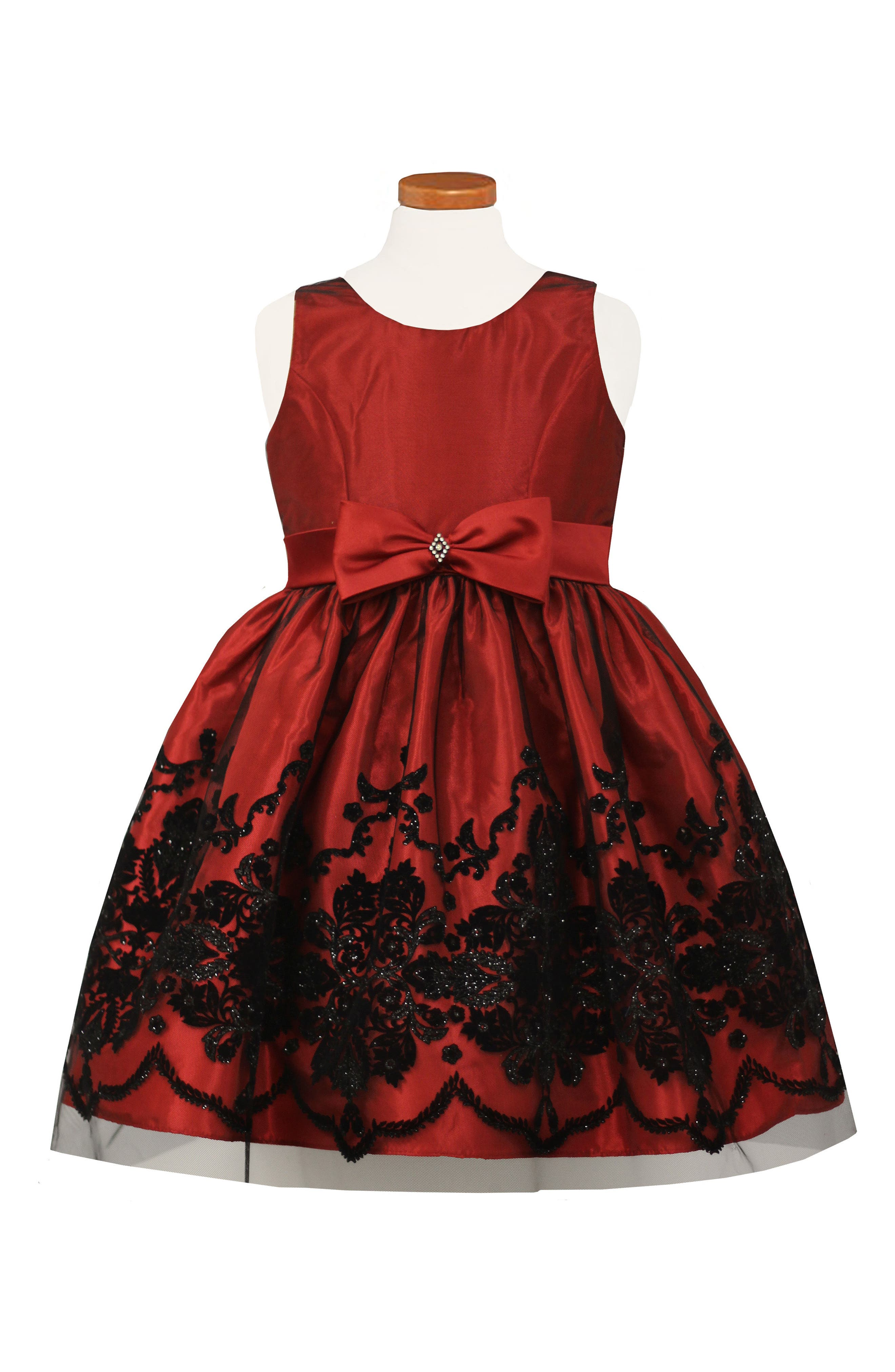 Flocked Fit & Flare Dress,                         Main,                         color, Red