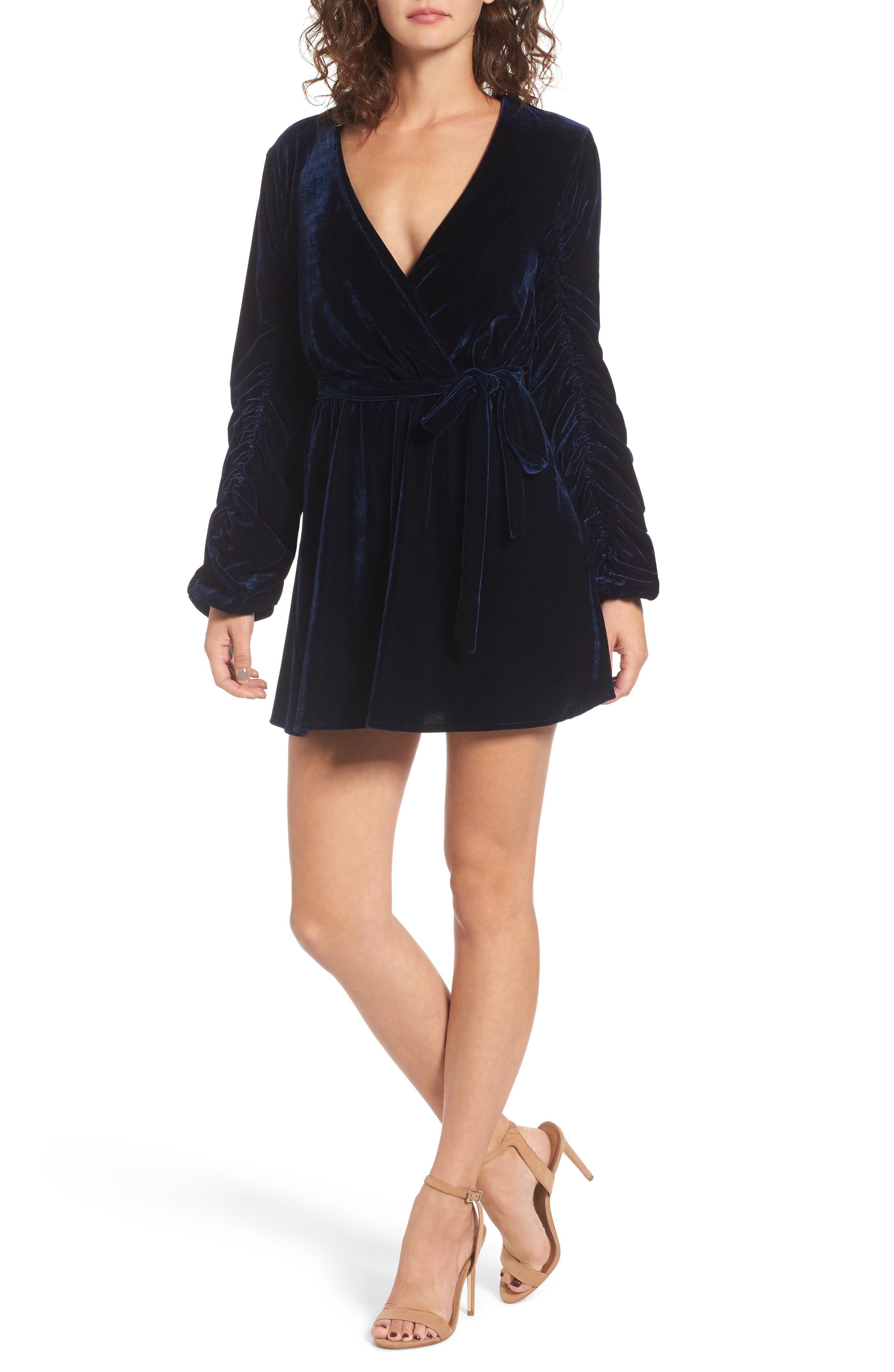 Tawney Velvet Wrap Dress,                         Main,                         color, Midnight Blue