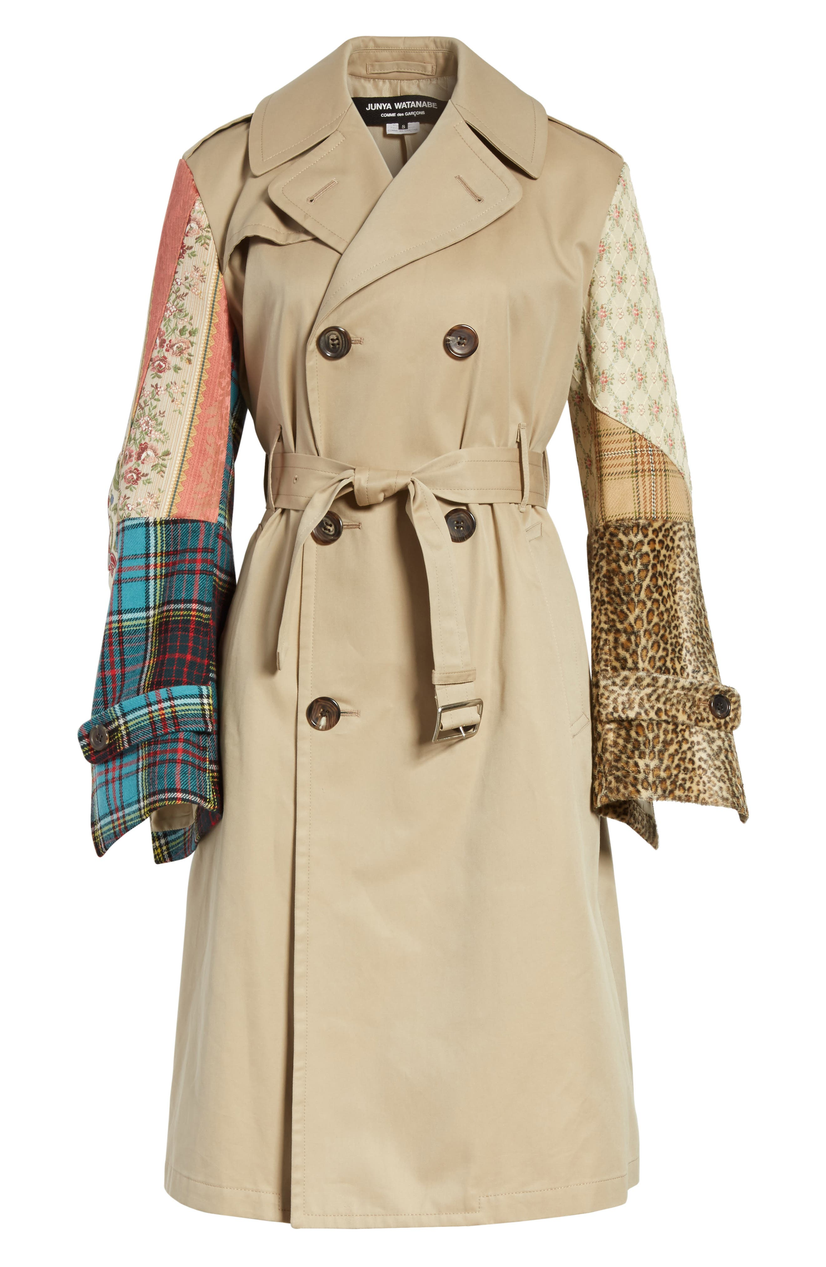 Patterned Sleeve Trench Coat,                             Alternate thumbnail 8, color,                             Beige X Mix