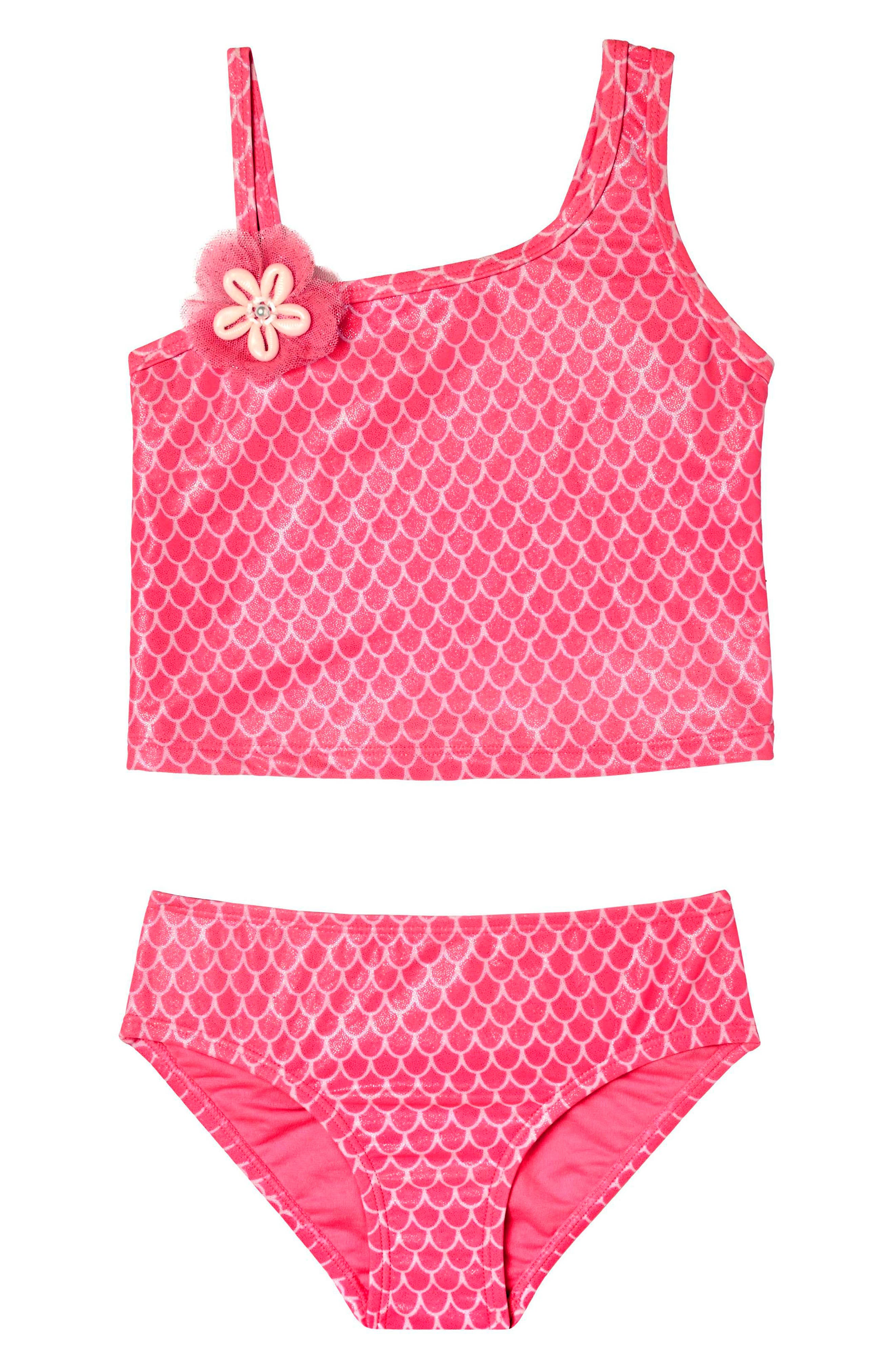 Mermaid Princess Two-Piece Tankini Swimsuit,                             Main thumbnail 1, color,                             Pink