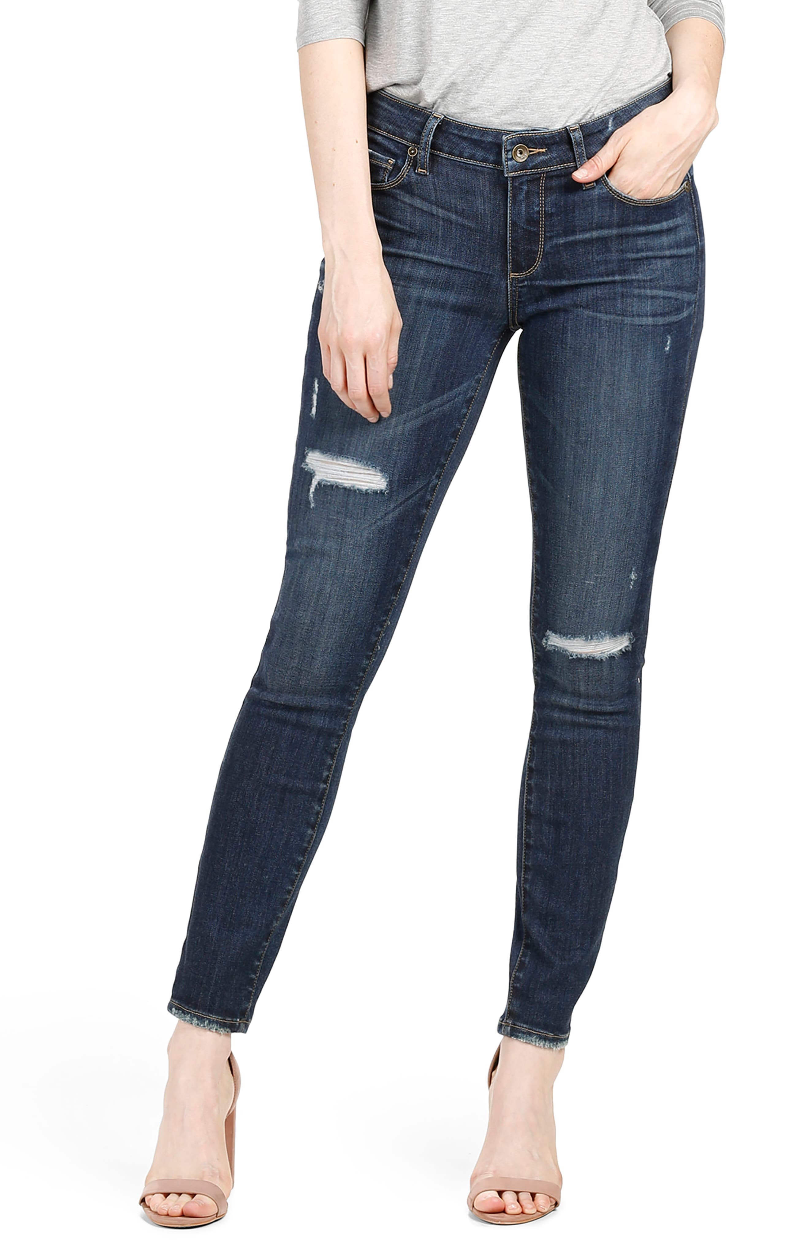 Main Image - PAIGE Transcend Vintage - Hoxton Ankle Skinny Jeans (Cleary Destructed)