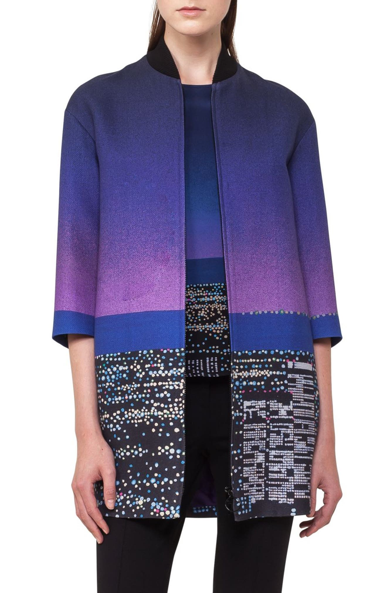 Twilight City Print Long Bomber,                             Main thumbnail 1, color,                             Multicolor