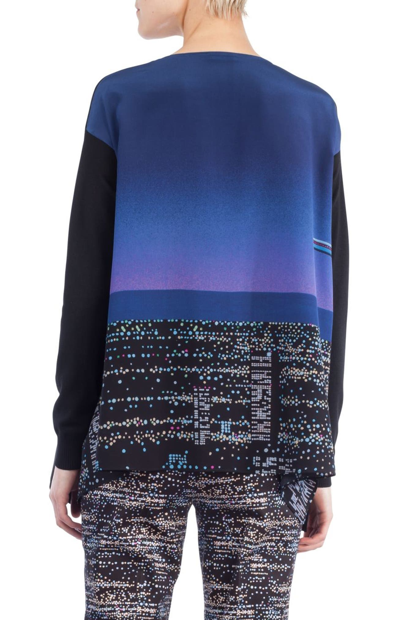 Twilight Print Wool Pullover,                             Alternate thumbnail 2, color,                             Black/ Multicolor