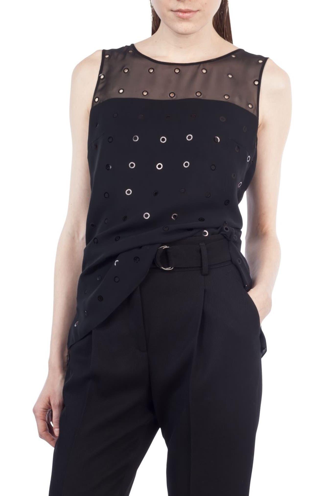 Transparent Cutout Dot Blouse,                         Main,                         color, Black