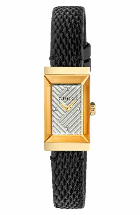 c5d06f4e41d Gucci G-Frame Rectangular Lizard Strap Watch