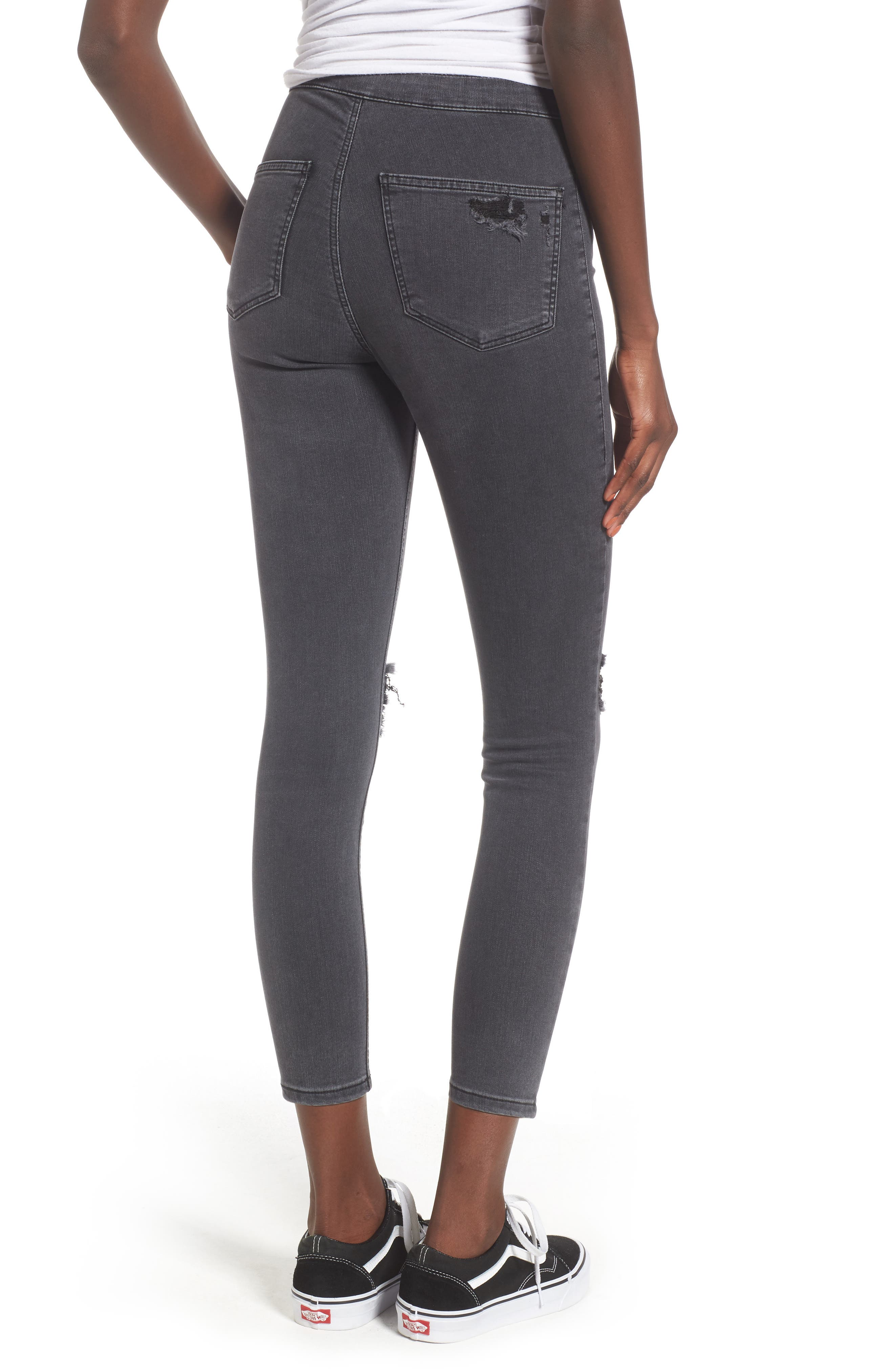 Joni Ripped Crop Skinny Jeans,                             Alternate thumbnail 2, color,                             Washed Black