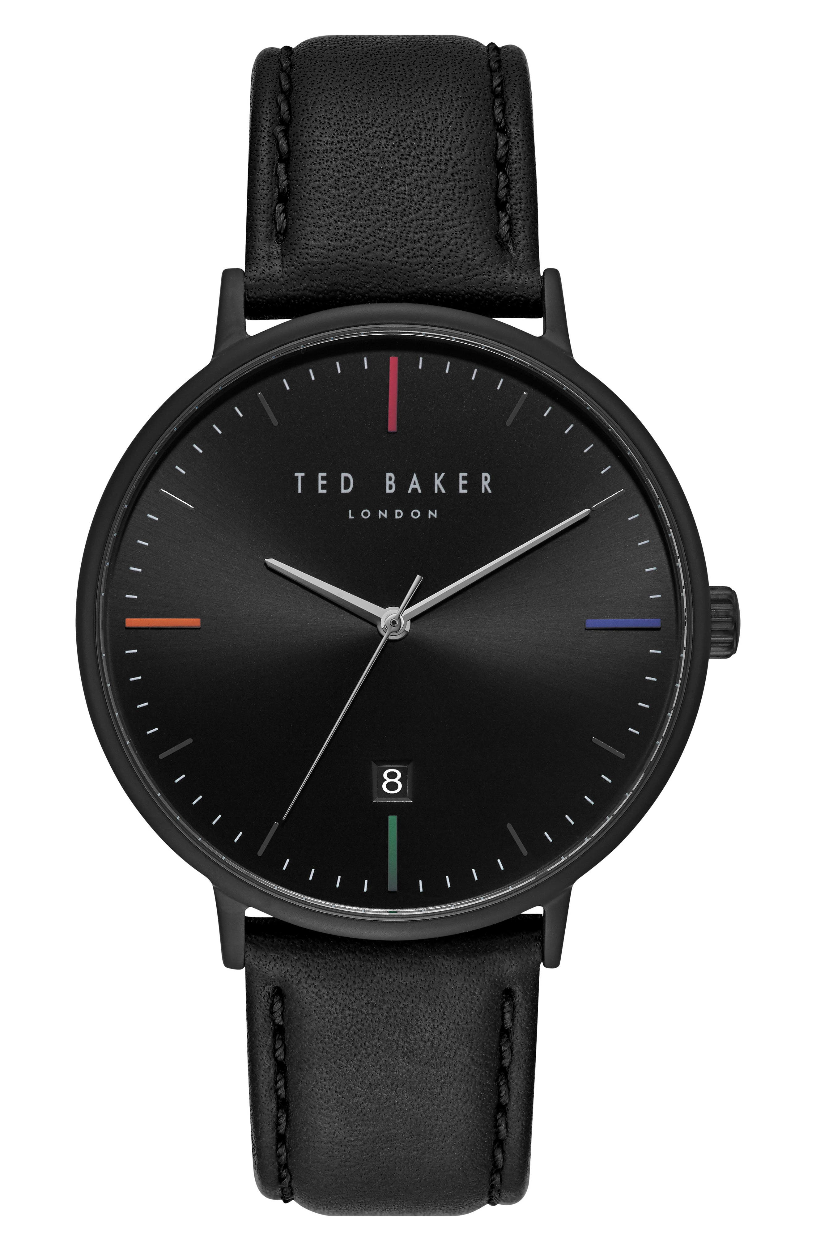 Main Image - Ted Baker London Norton Leather Strap Watch, 42mm