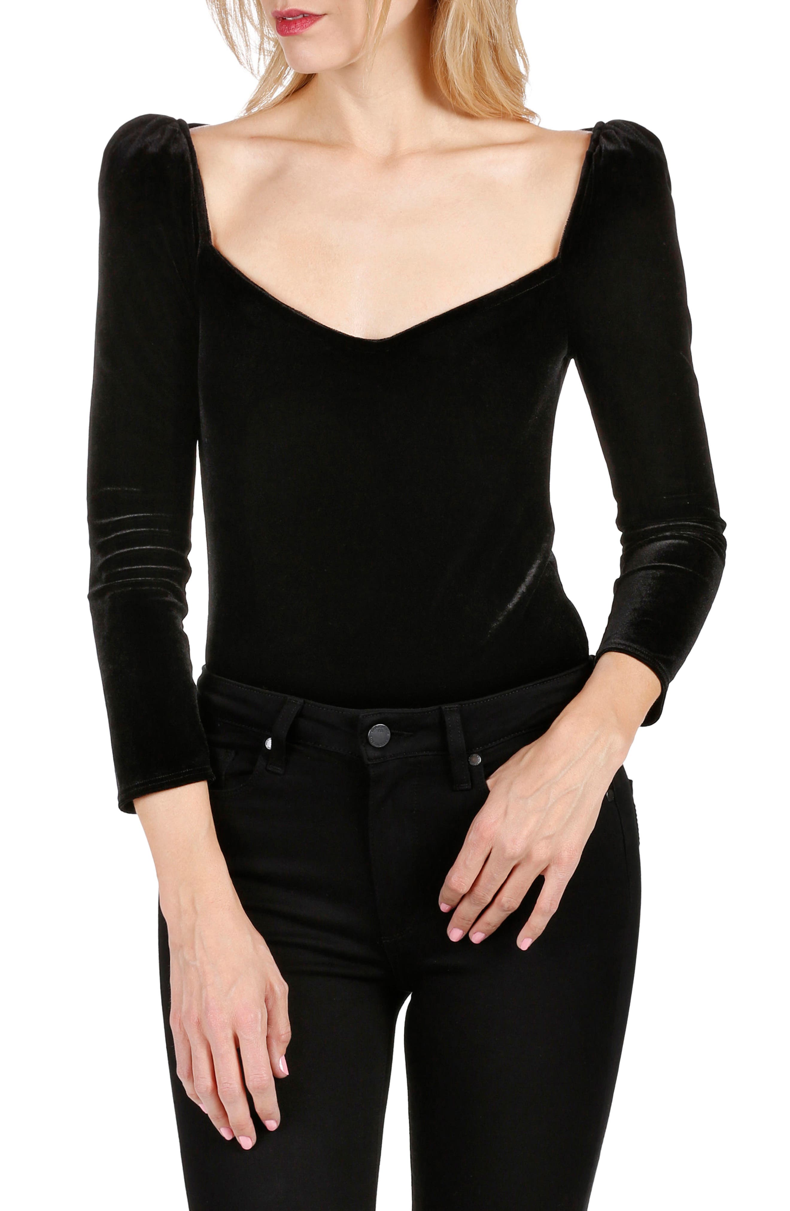 Delsie Stretch Velvet Bodysuit,                             Main thumbnail 1, color,                             Black