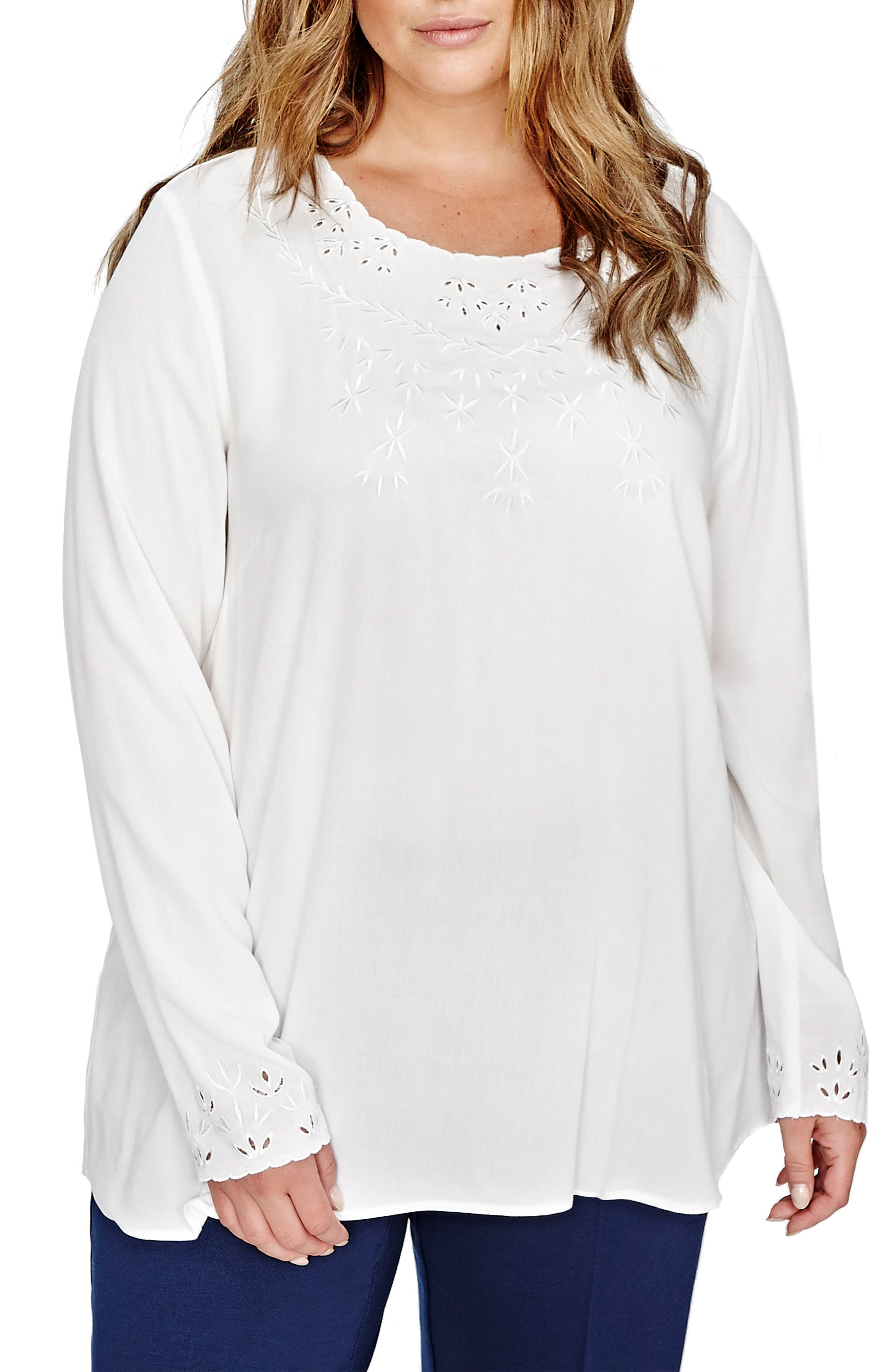 Michel Studio Ember Eyelet Neck Blouse (Plus Size)