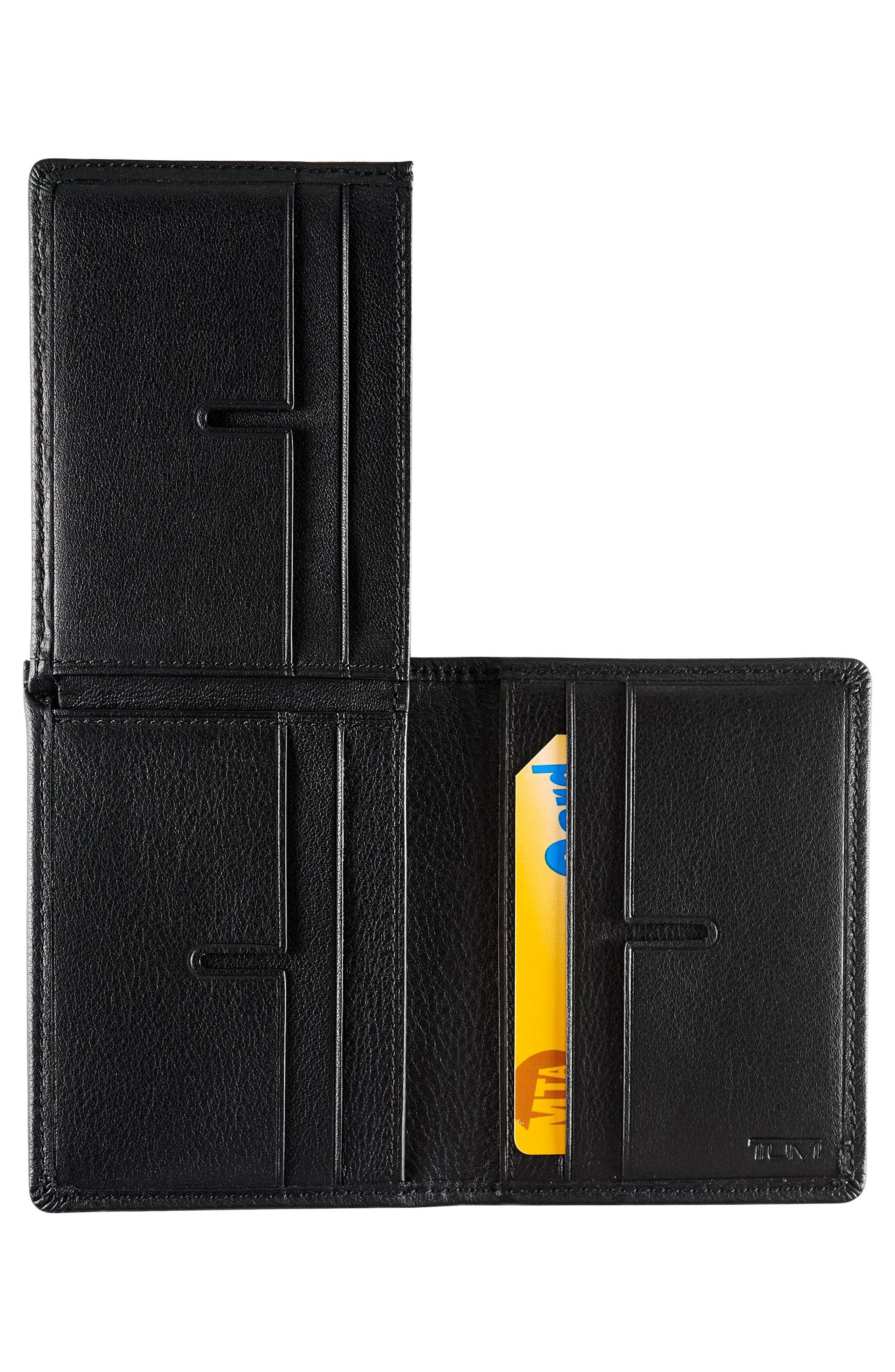 Leather L-Fold Wallet,                             Alternate thumbnail 3, color,                             Black Textured