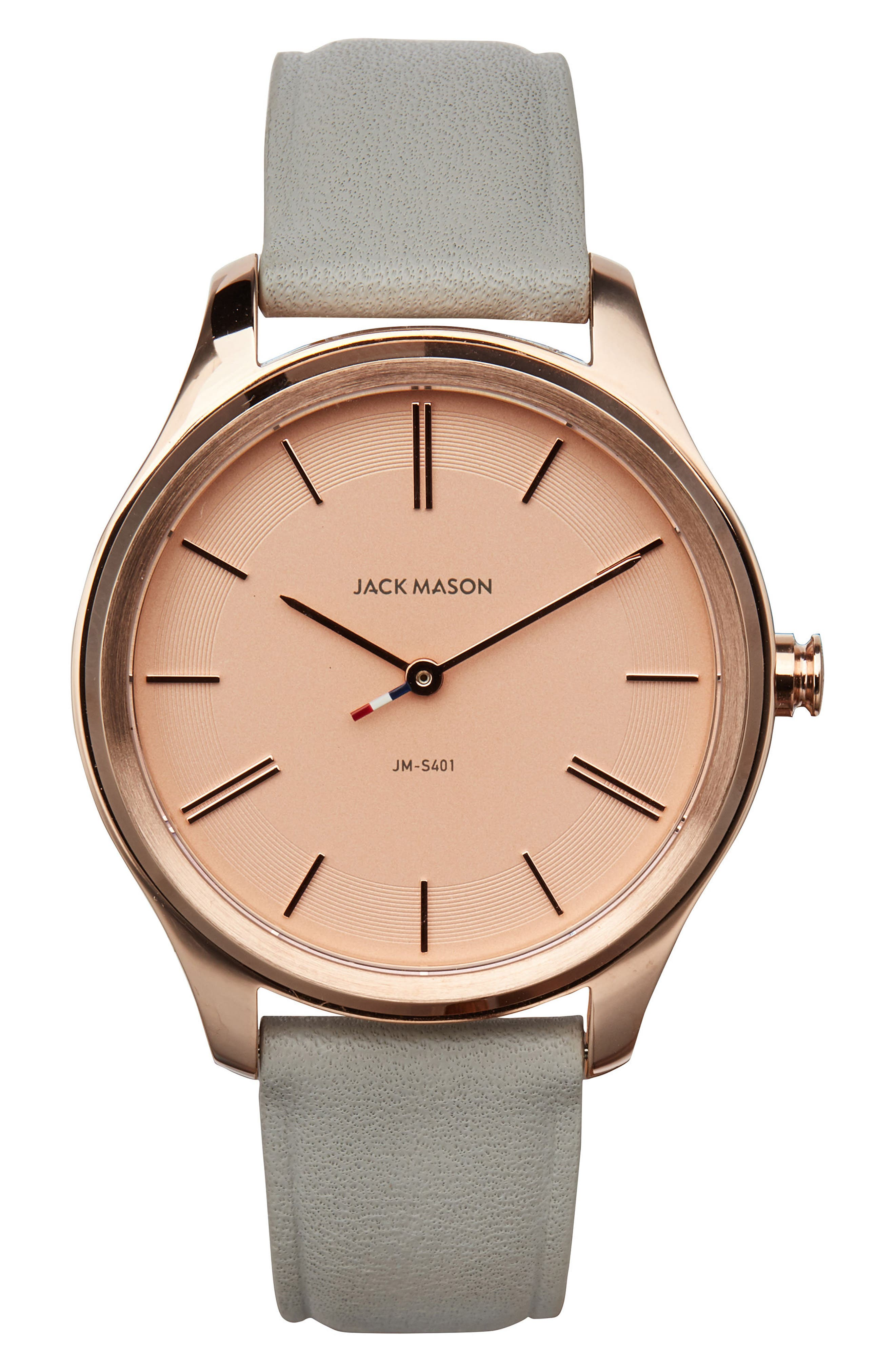Jack Mason Slim Leather Strap Watch, 38mm