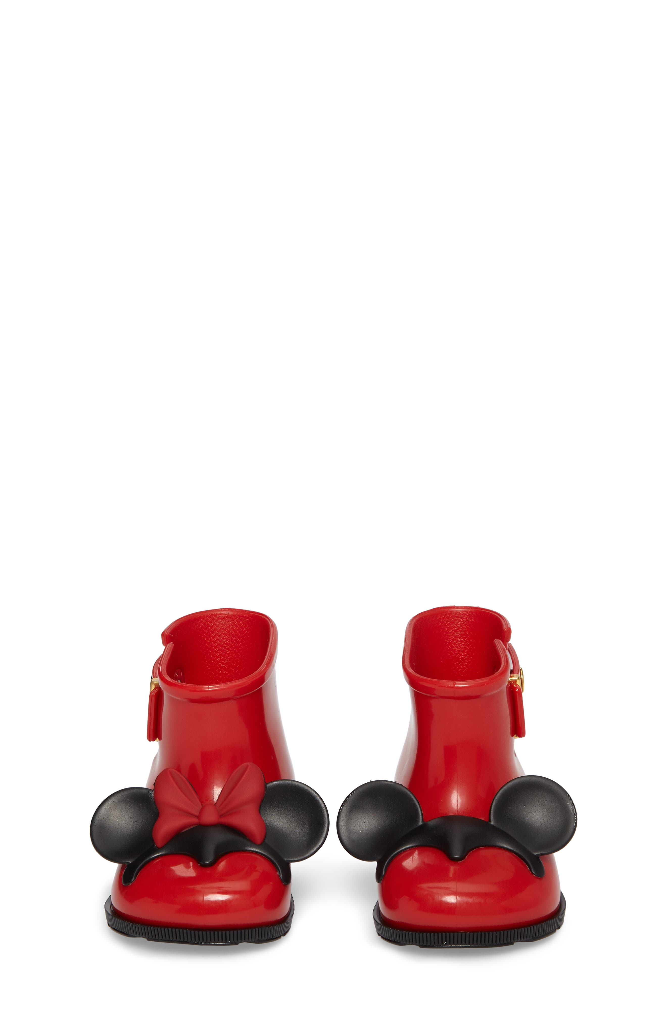Mini Melissa Sugar Rain Disney Twins Waterproof Bootie,                             Alternate thumbnail 4, color,                             Red